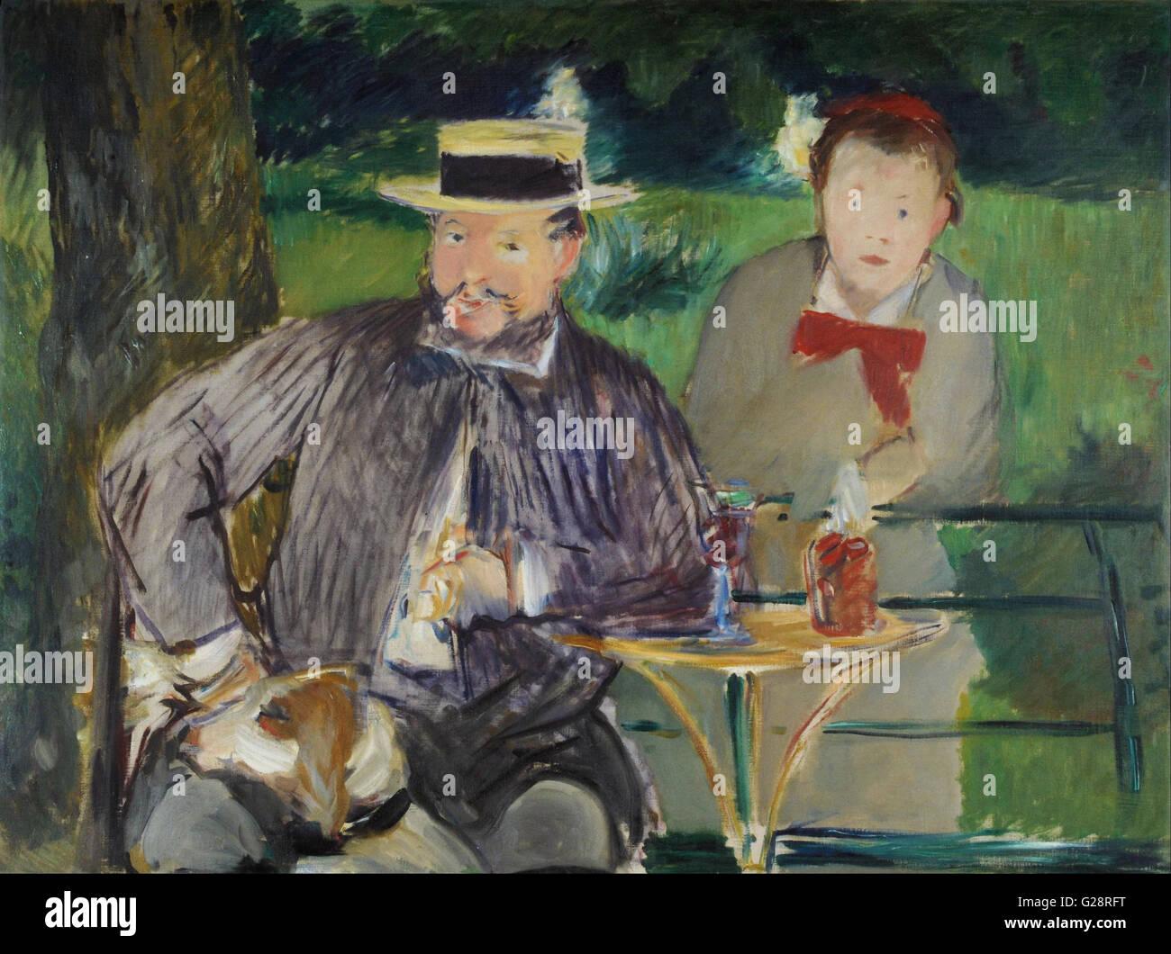 Manet, Edouard - Portrait d'Ernest Hoschedé et sa fille Marthe - Museo Nacional de Bellas Artes de Buenos - Stock Image