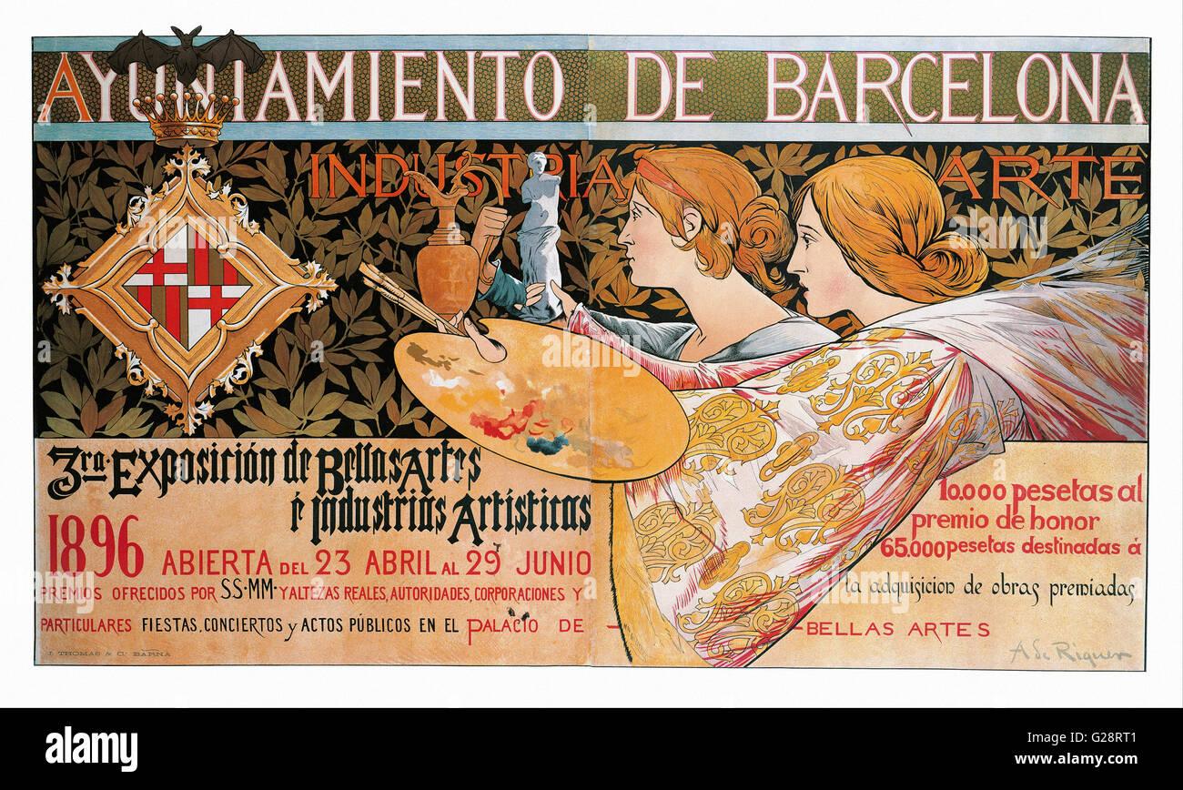 Alexandre de Riquer - 3ra. Exposición de Bellas Artes é Indus  - MNAC - Barcelona - Stock Image