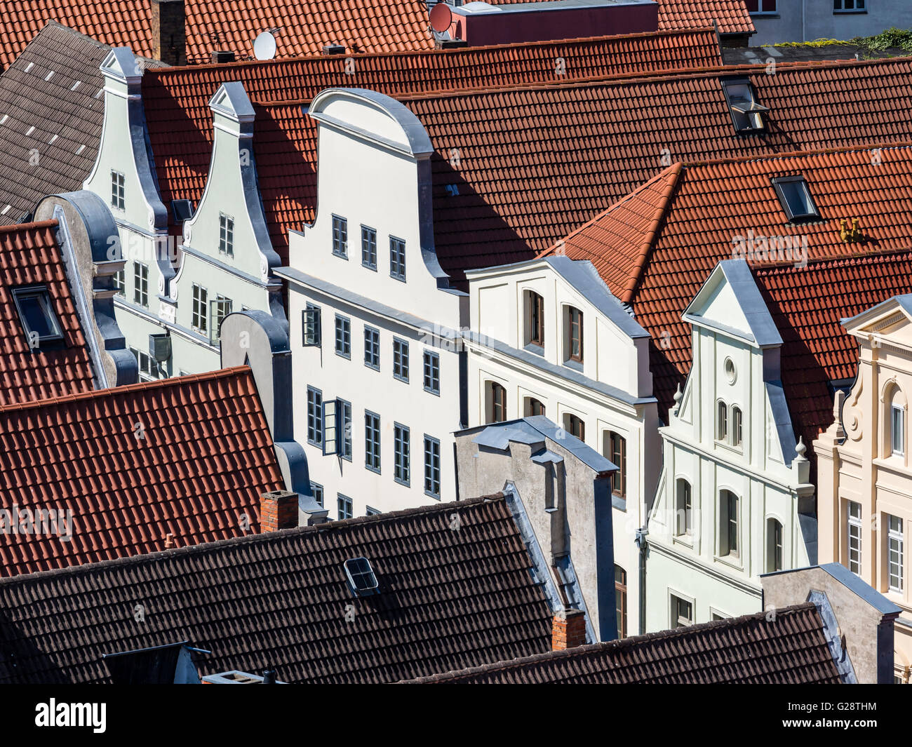 Historic downtown, seen from platform of St. Georgen church, Wismar, Germany. - Stock Image