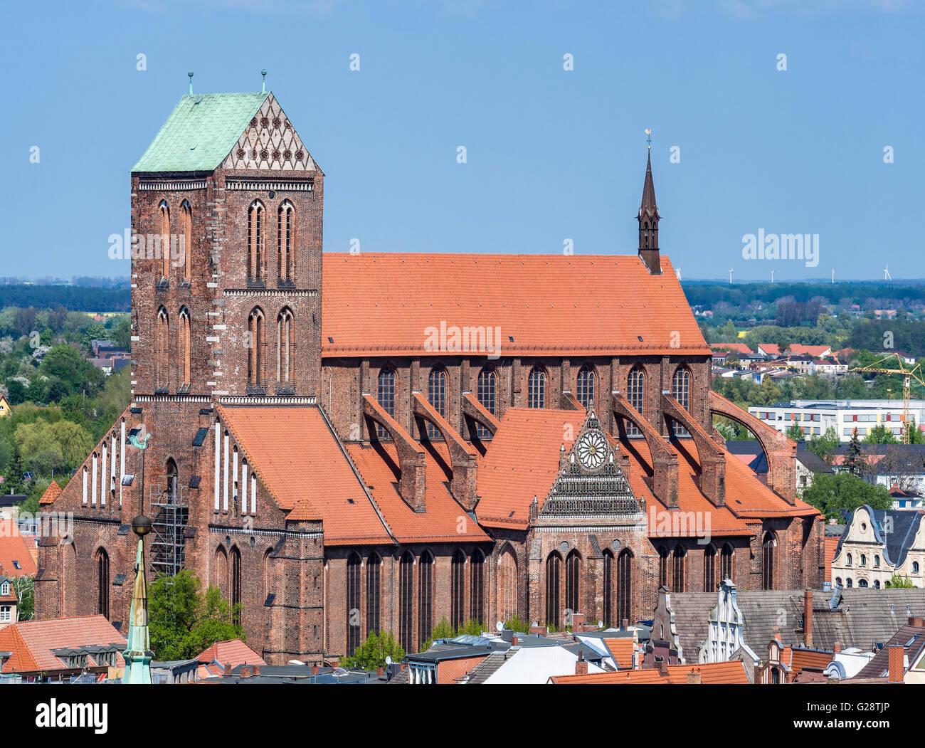 St. Nikolai church, seen from platform of St. Georgen church, Wismar, Germany. - Stock Image