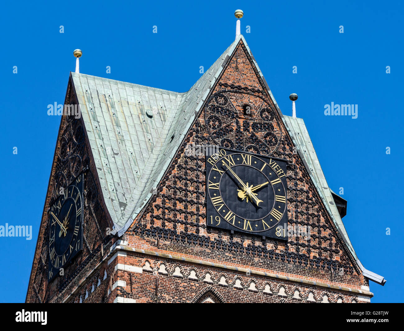 Tower of St. Mary church, remaining ruin left after 2. world war, Wismar, Germany - Stock Image