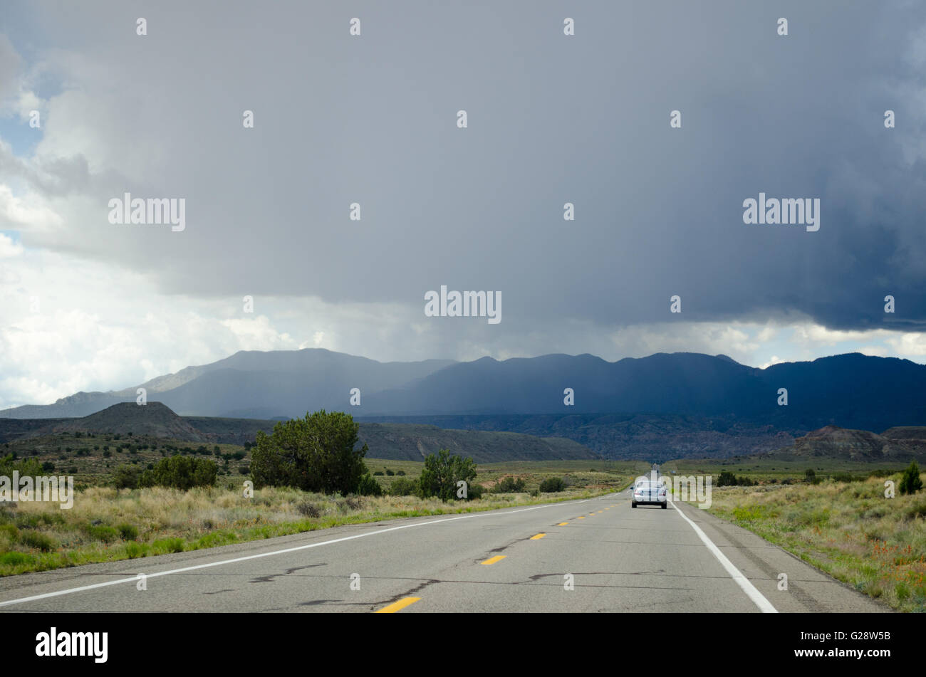 Rainstorm, desert mountains on the Navajo reservation in northern Arizona - Stock Image