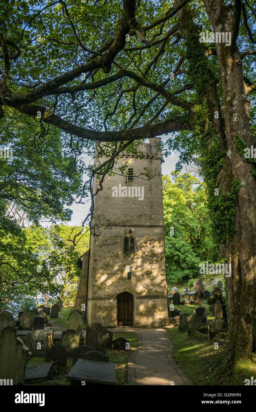 The medieval St. Illtyd's, Church, at Oxwich on the Gower, Peninsular, South Wales - Stock Image