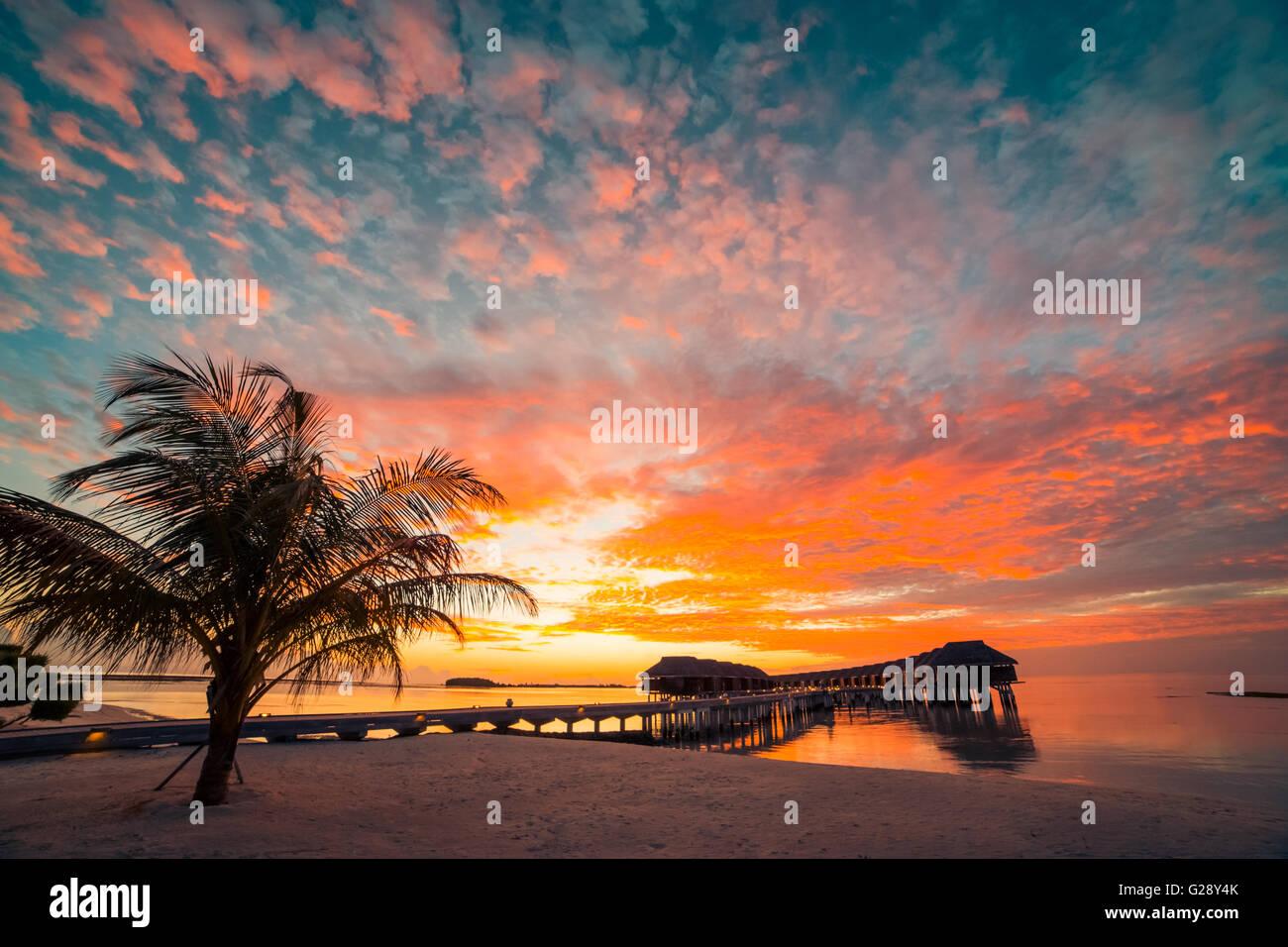 Amazing sunset beach in Maldives. Background concept - Stock Image