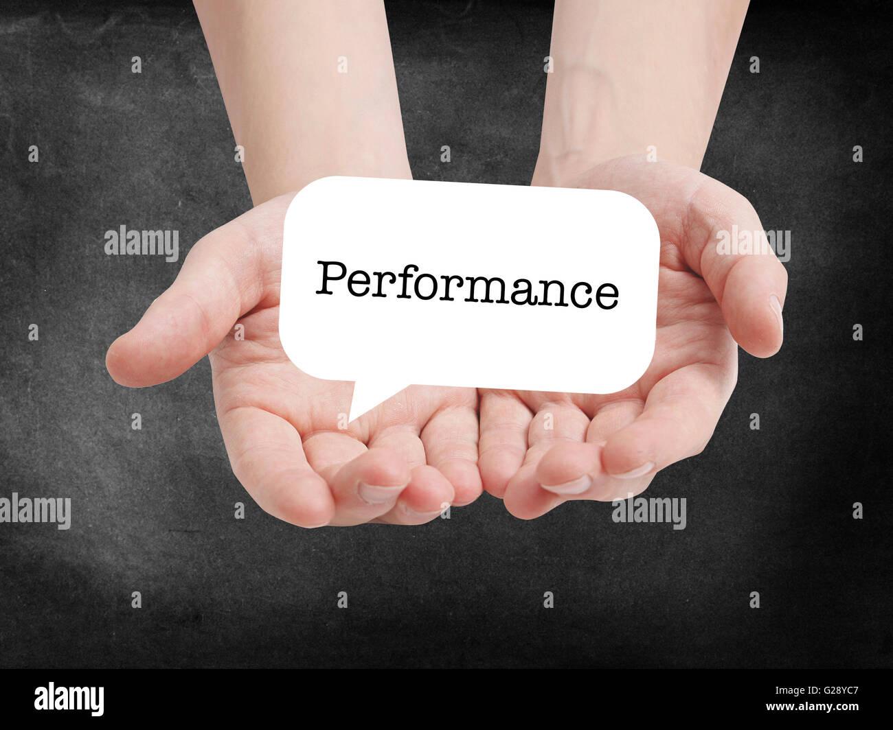 Performance written on a speechbubble - Stock Image