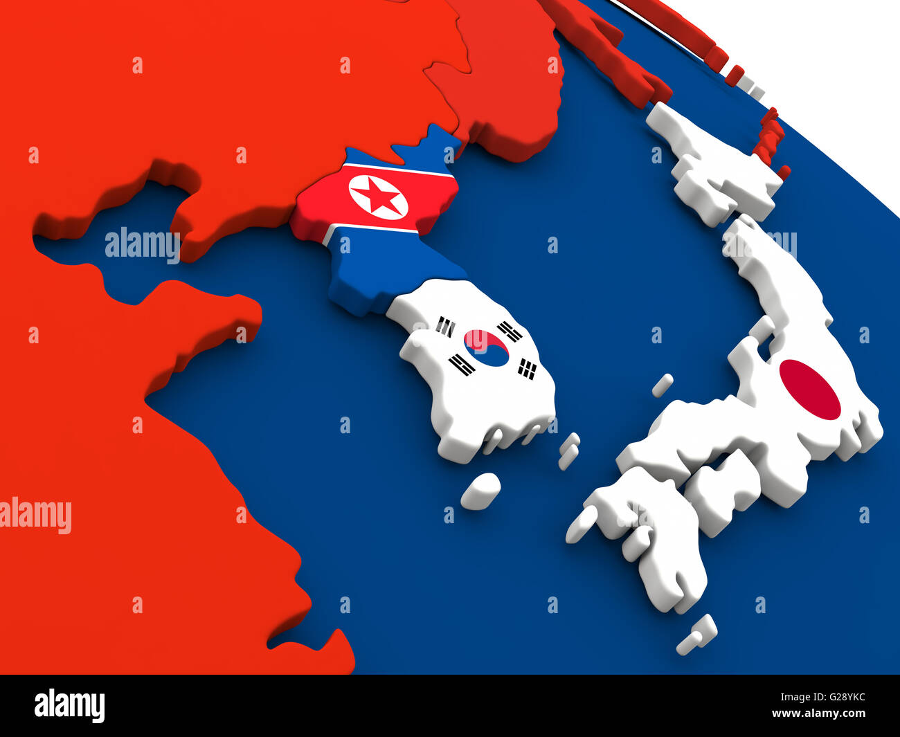 Image of: Map Of South Korean And North Korea On Globe With Embedded Flags Of Stock Photo Alamy