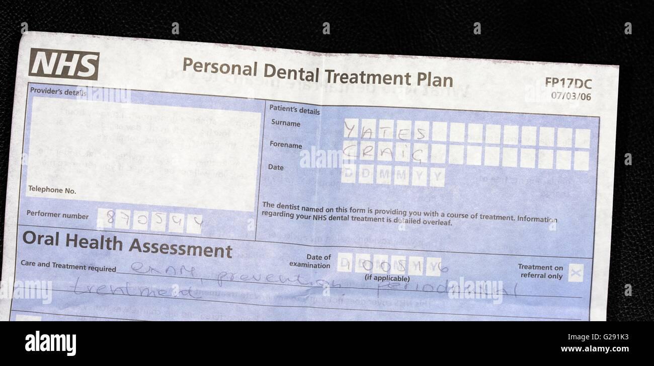 NHS personal dental treatment plan - Stock Image