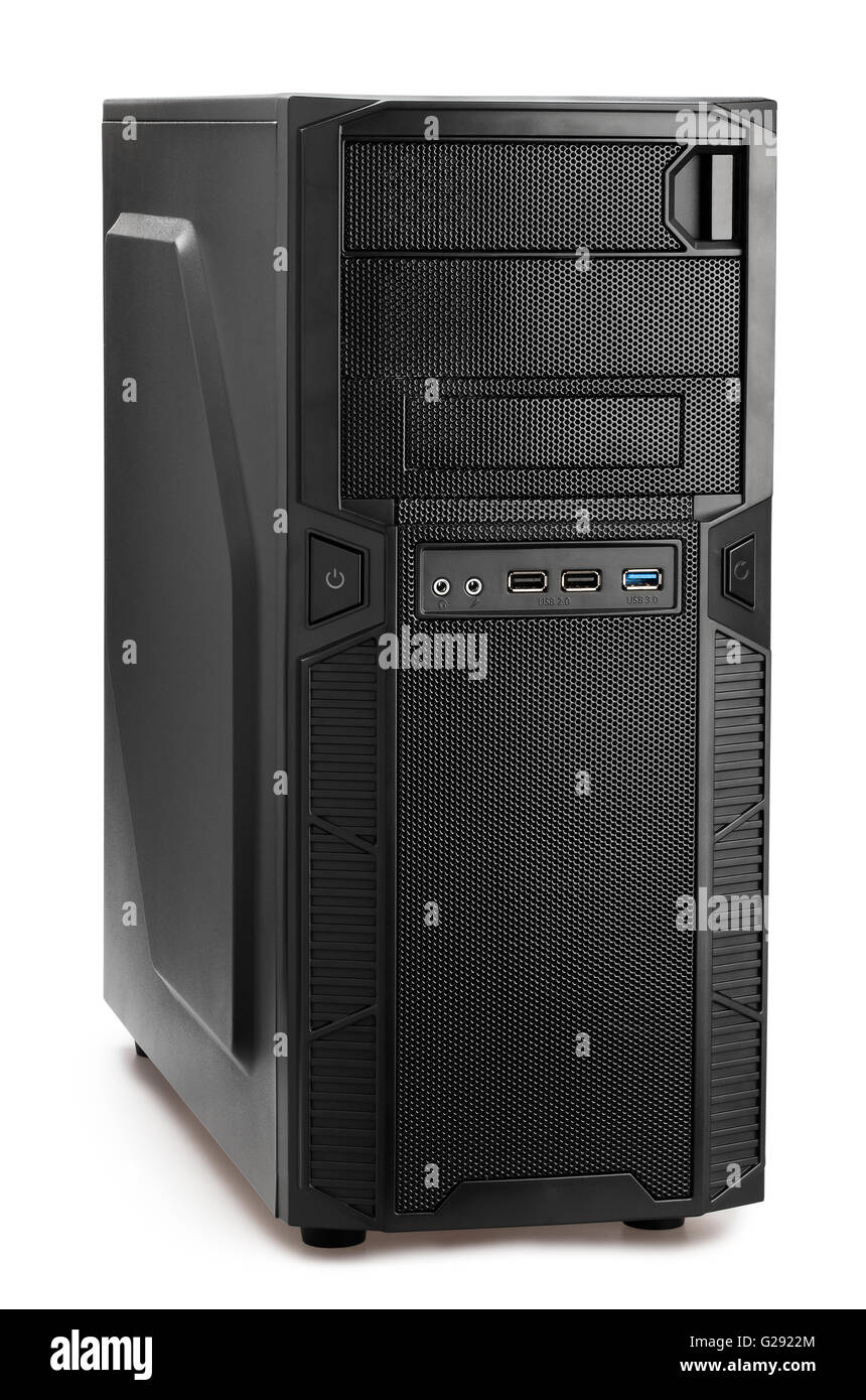 pc tower isolated - Stock Image