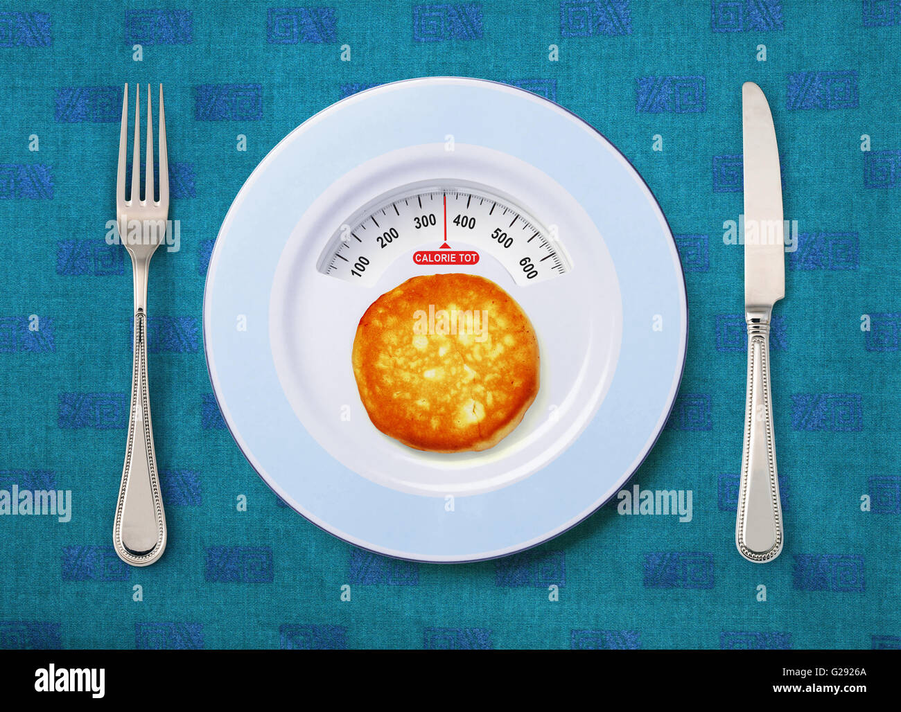 view of calorie tot in pancake that on white plate - Stock Image