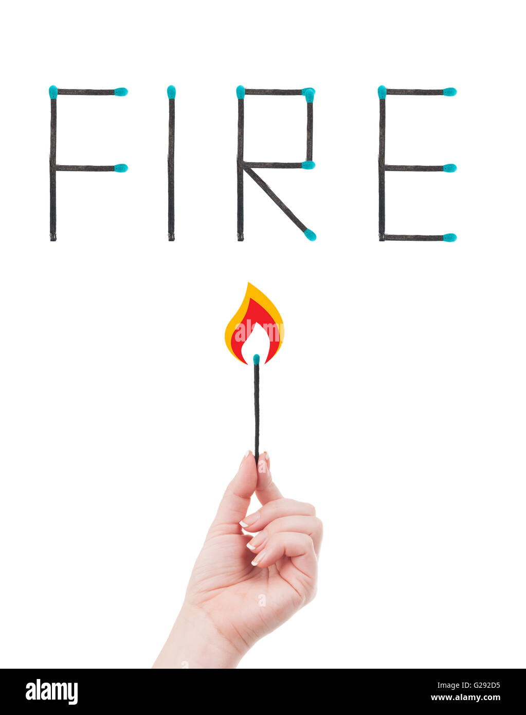 hand holding a burning match and word fire written with matches. Fire hazard concept isolated on white background. - Stock Image