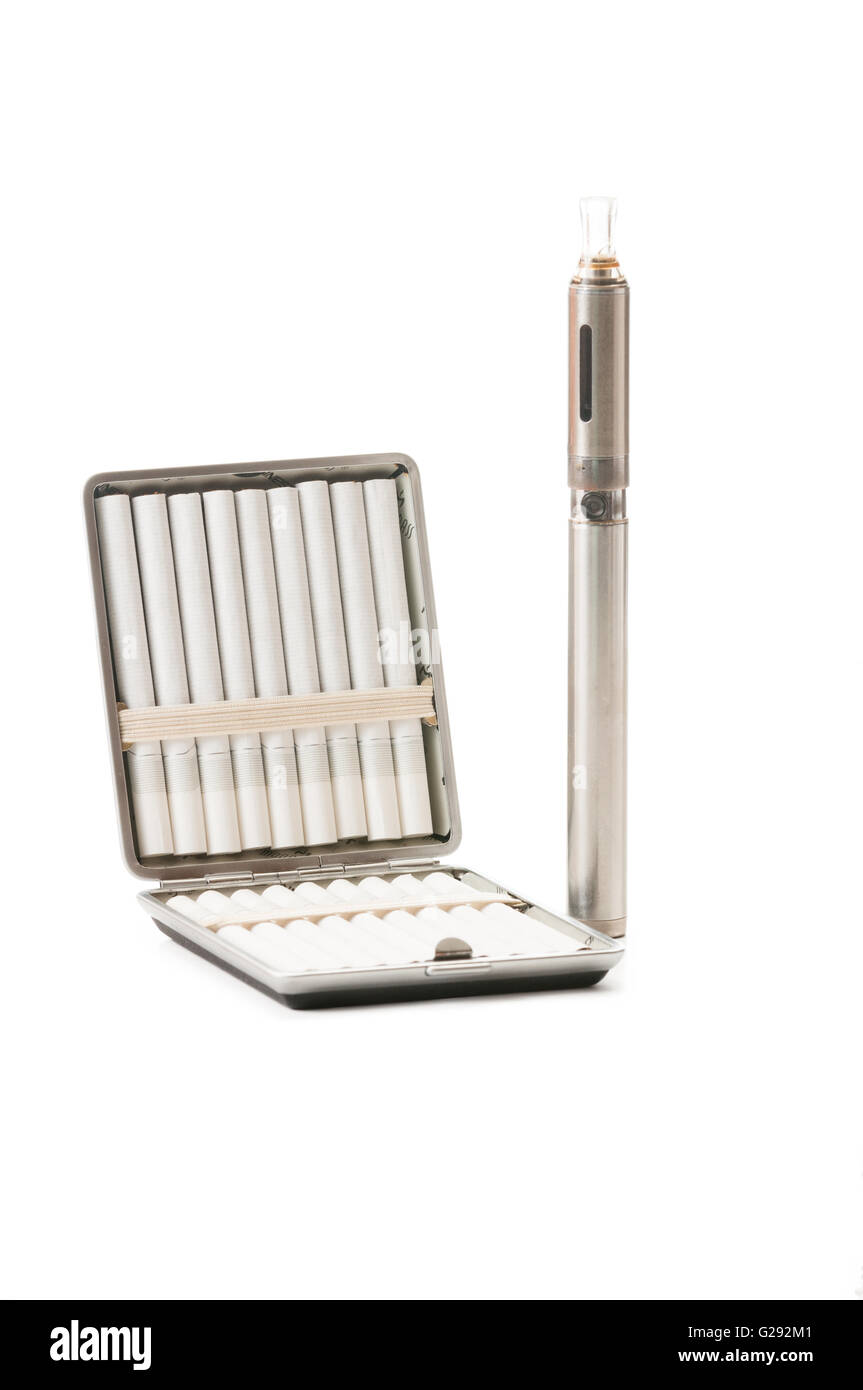 Normal cigarettes and electronic cigarette isolated on white background Stock Photo