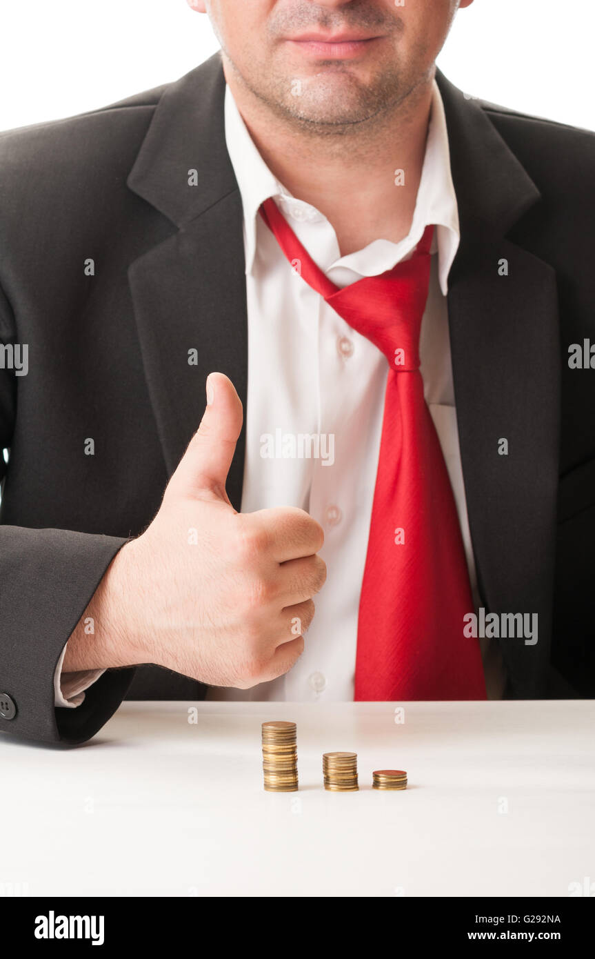 Business man salary after a day of work concept. - Stock Image