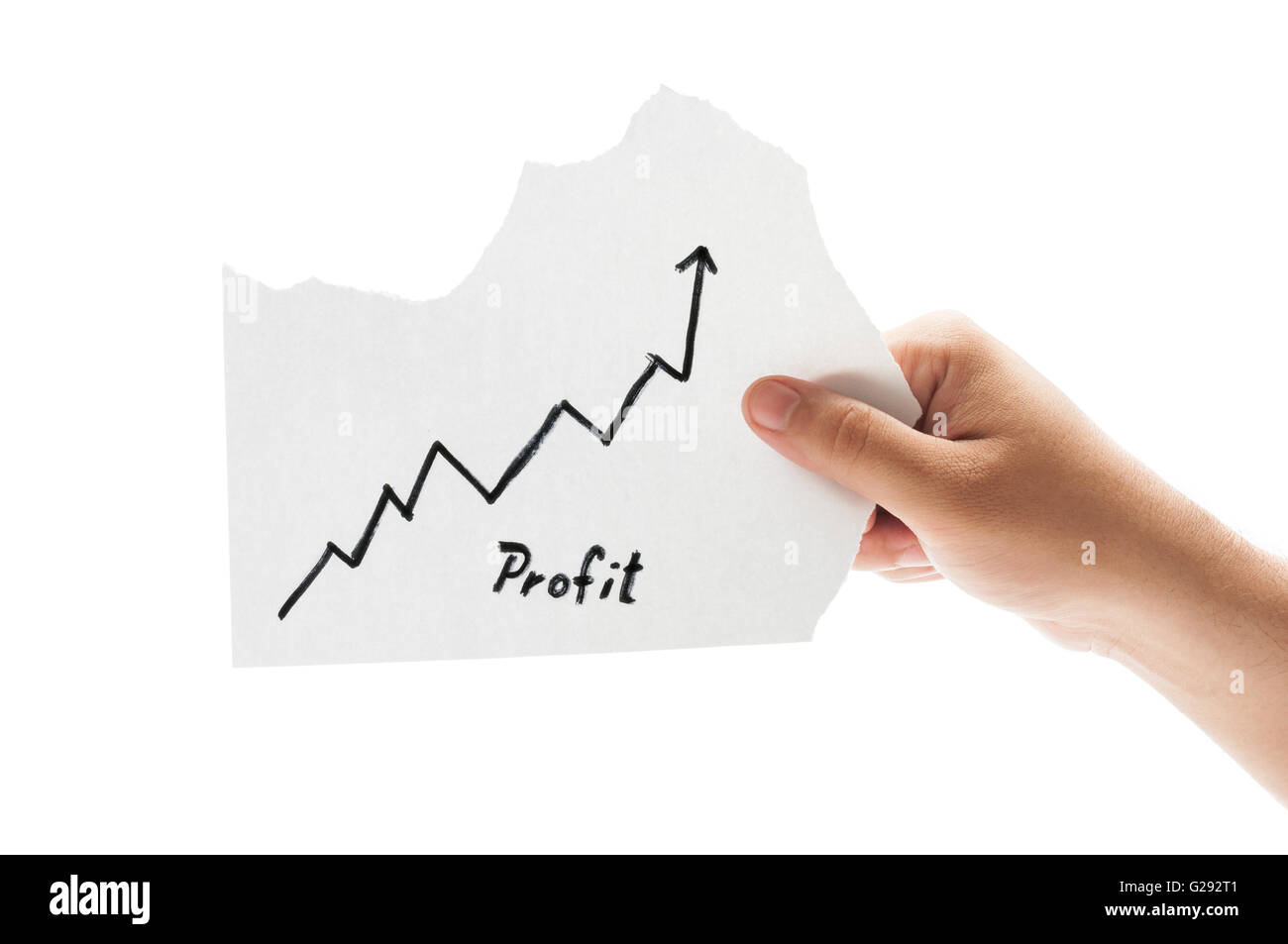 Growing profit chart concept using a hand holding a piece of paper and the text written by hand with a permanent - Stock Image