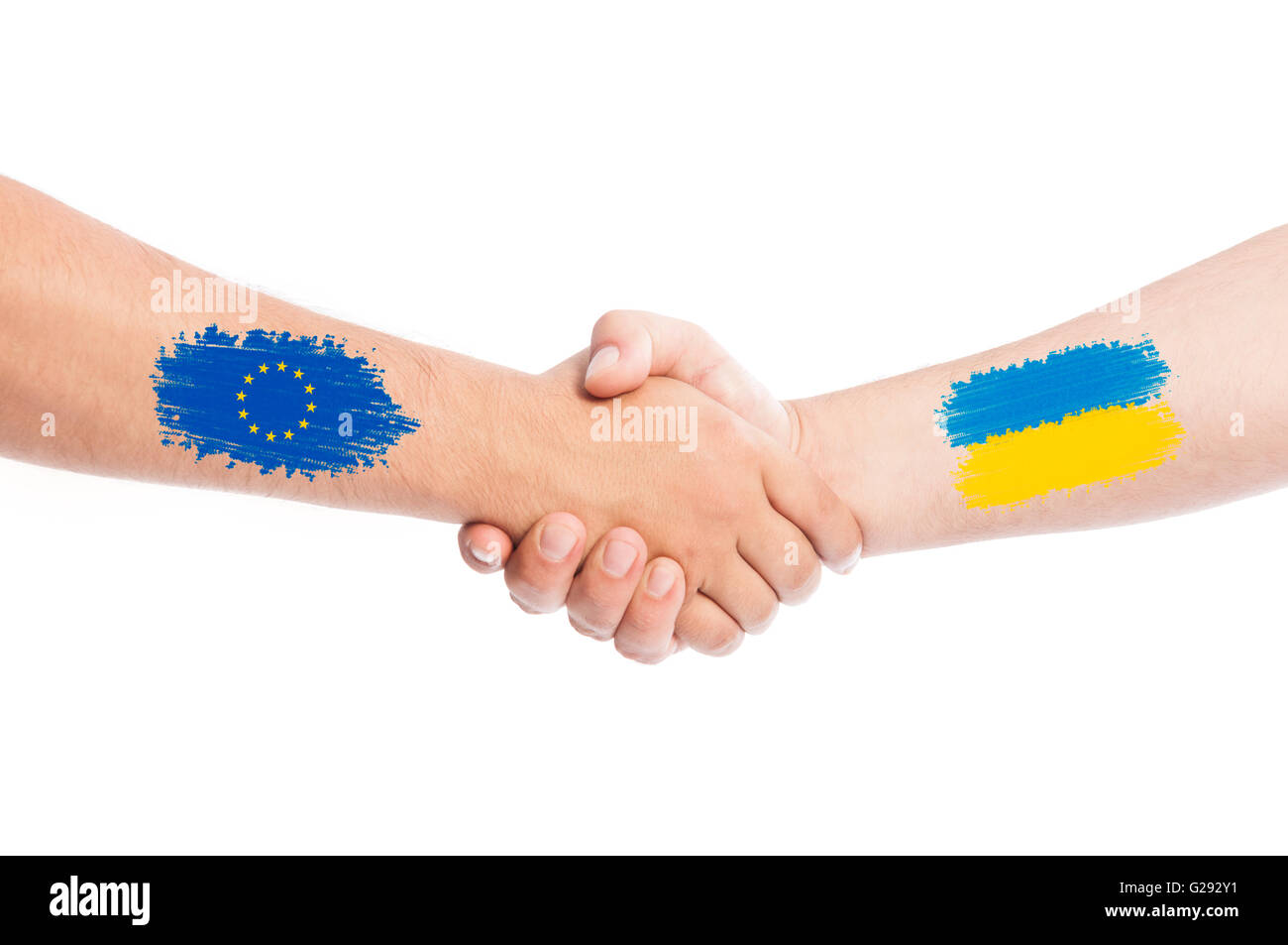 European Union and Ukraine shaking hands concept isolated on white background - Stock Image