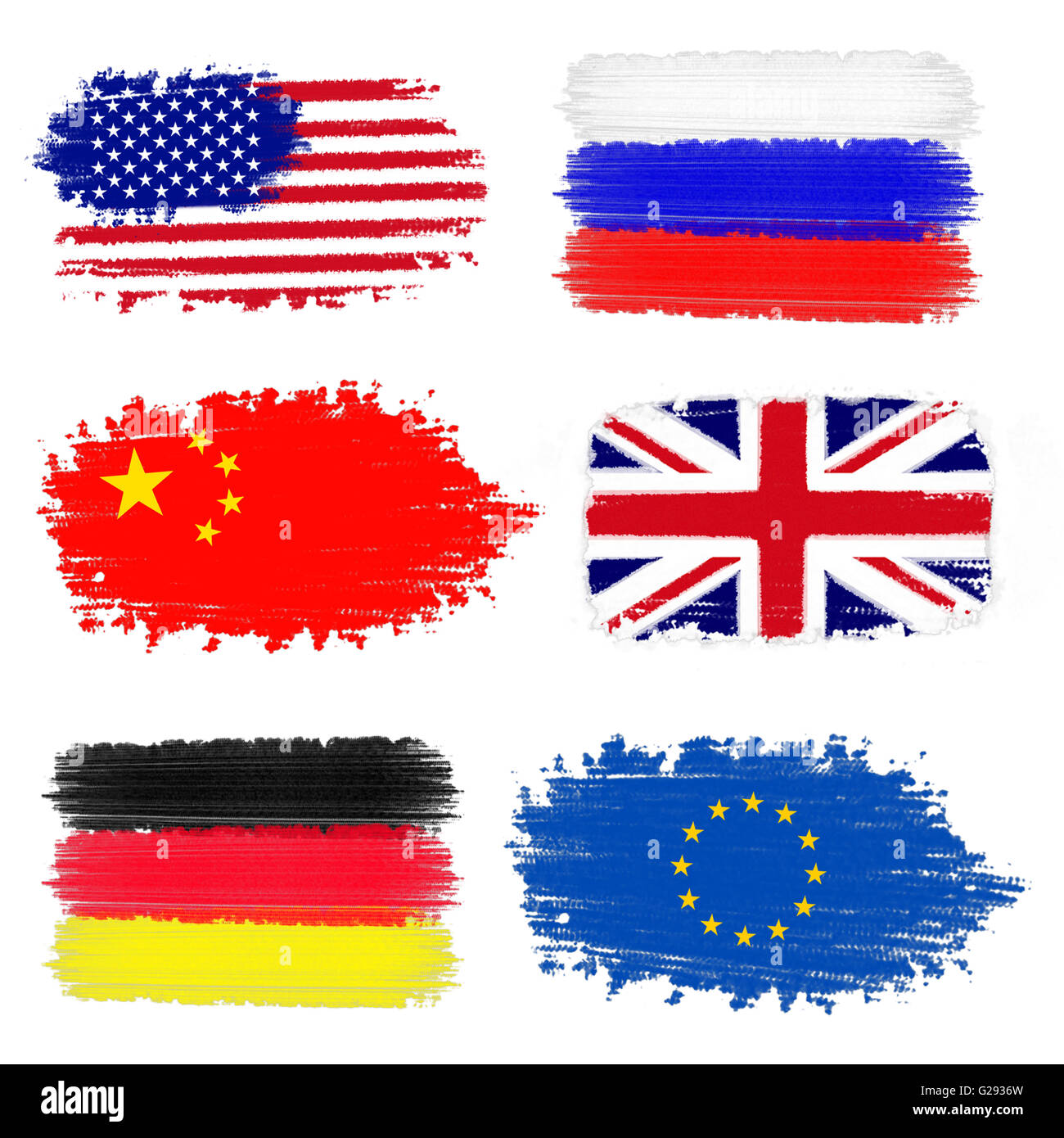 Collection of flags including USA, China, Russia, United Kingdom, Germany and European Union - Stock Image