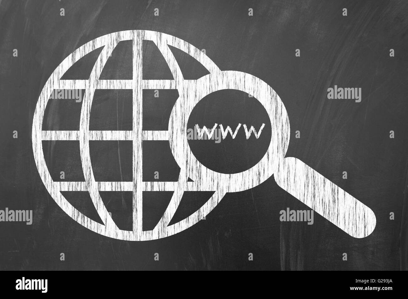 Web search concept on blackboard using magnifier and earth globe drawn with chalk - Stock Image