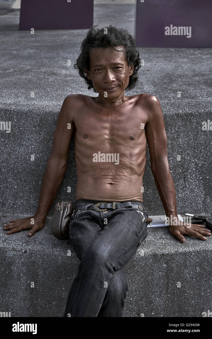 Impoverished and under fed Thai male.  Thailand S. E. Asia - Stock Image