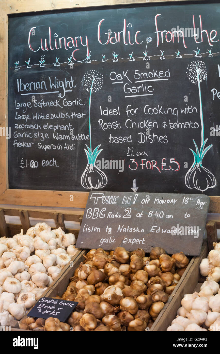 details of Culinary Garlic on blackboard at Garlic Farm at Newchurch, Isle of Wight in May - Stock Image