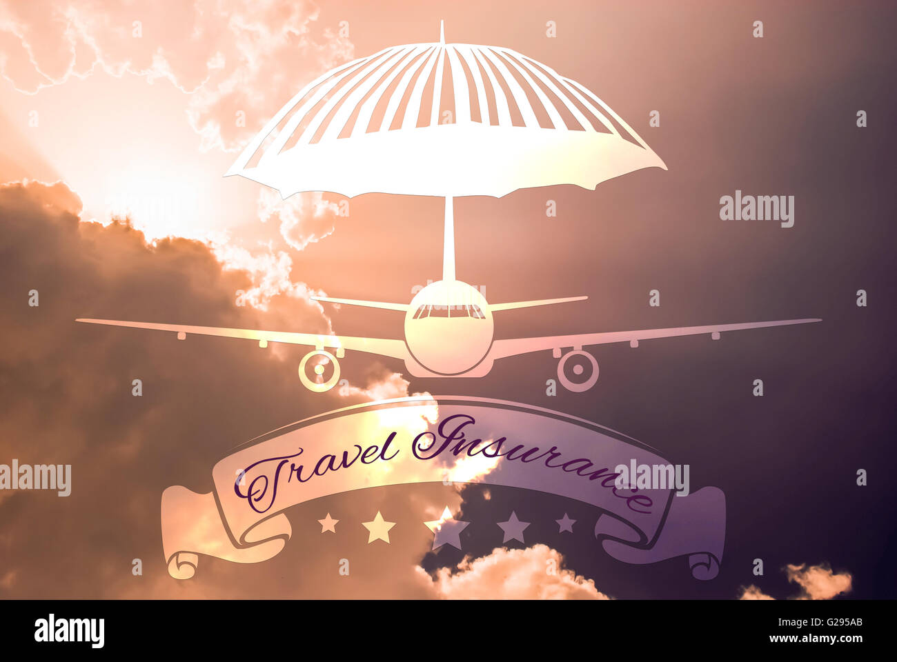 Travel insurance concept made with plane and protective umbrella shape on sky background - Stock Image