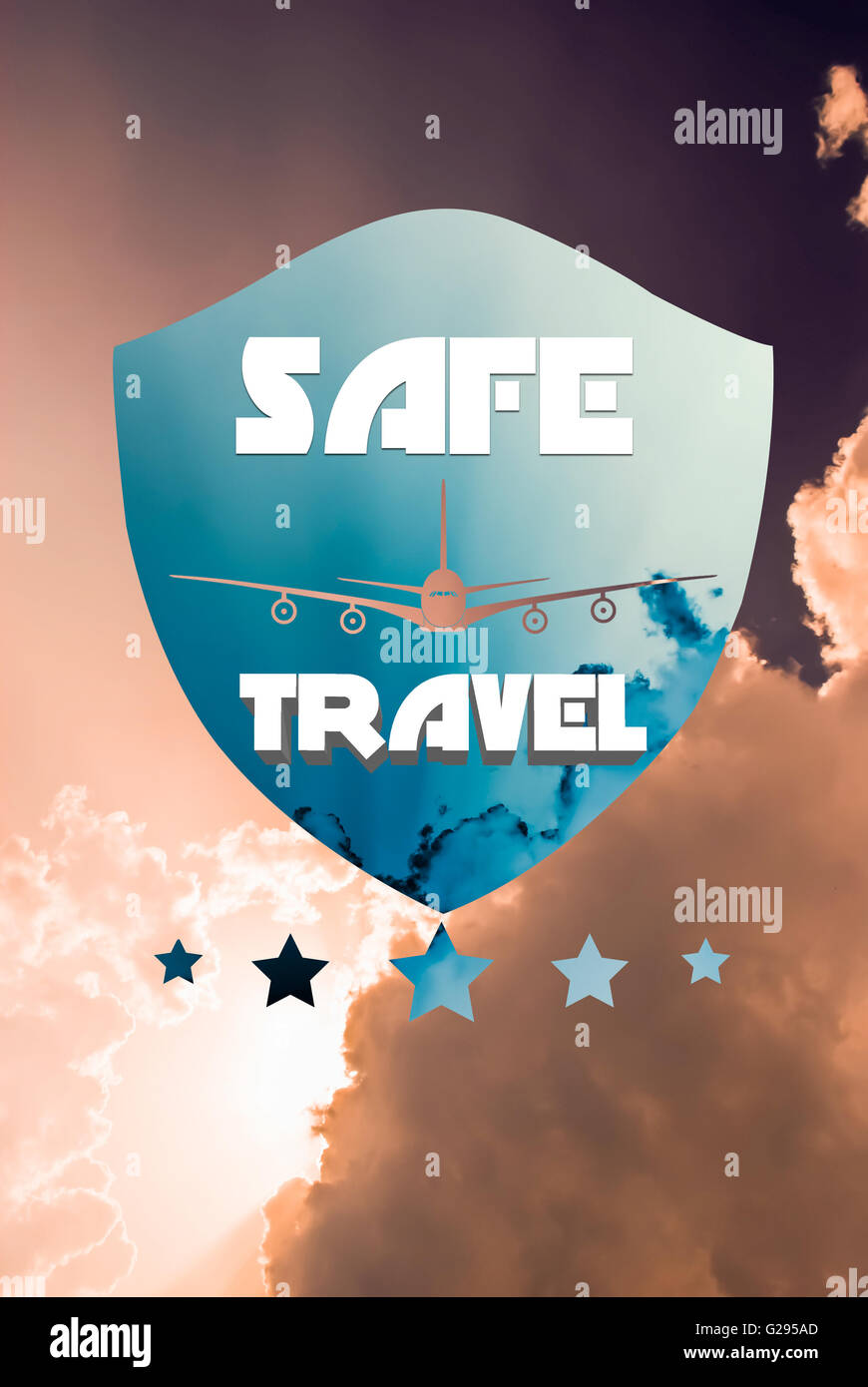 Safe travel or flying. Travel insurance concept with plane and shield shape on sky background - Stock Image