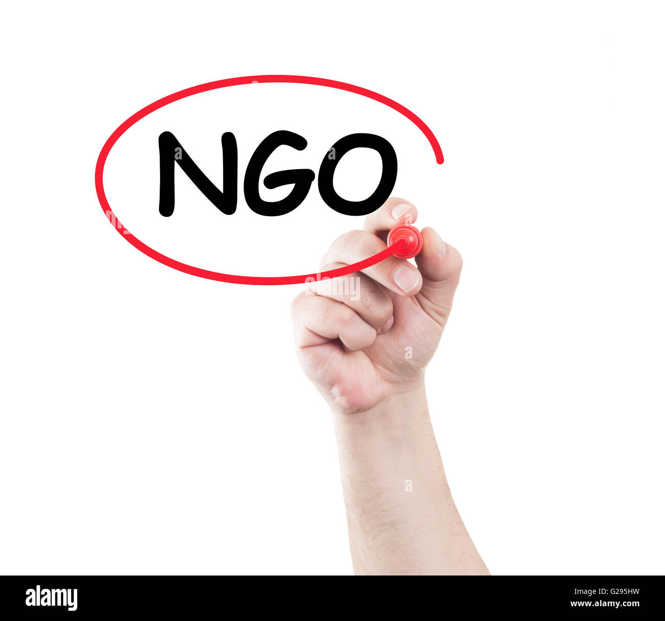 Hand circle ngo text on transparent wipe board with white background and copy space. Non governmental organization - Stock Image