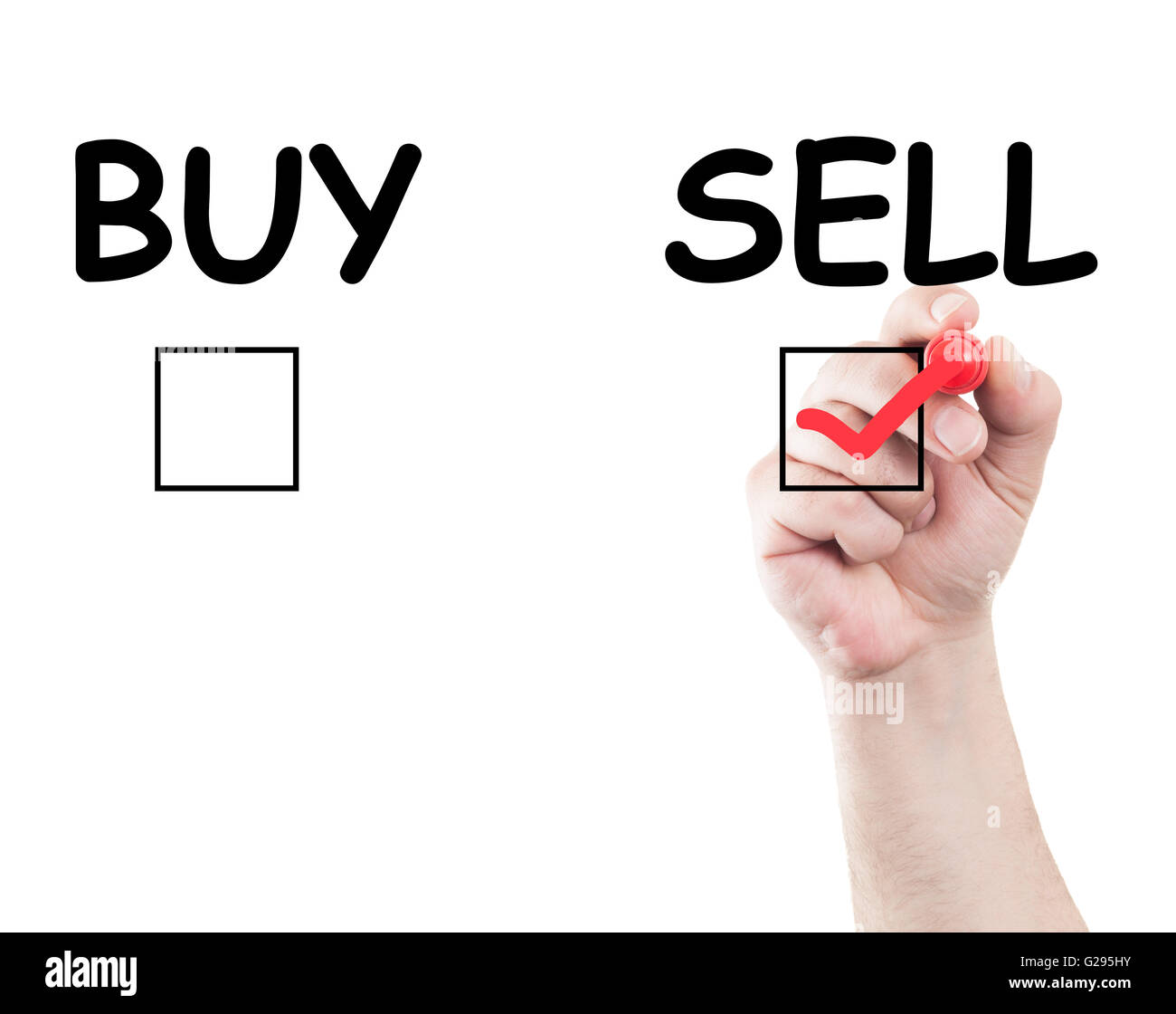hand writing sell buy check box on transparent wipe board with white background and copy space - Stock Image