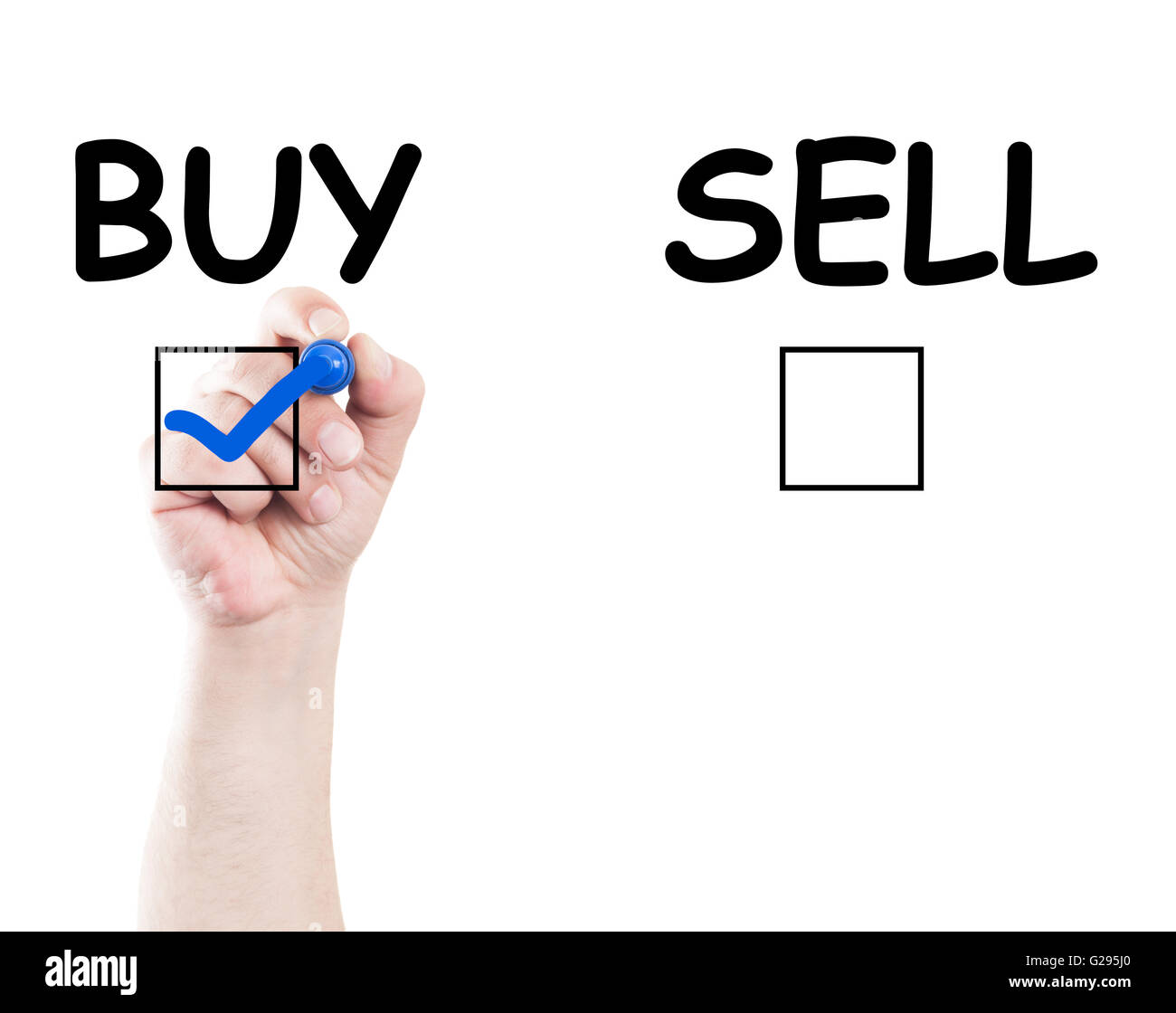 hand writing buy sell check box text on transparent wipe board with white background and copy space - Stock Image