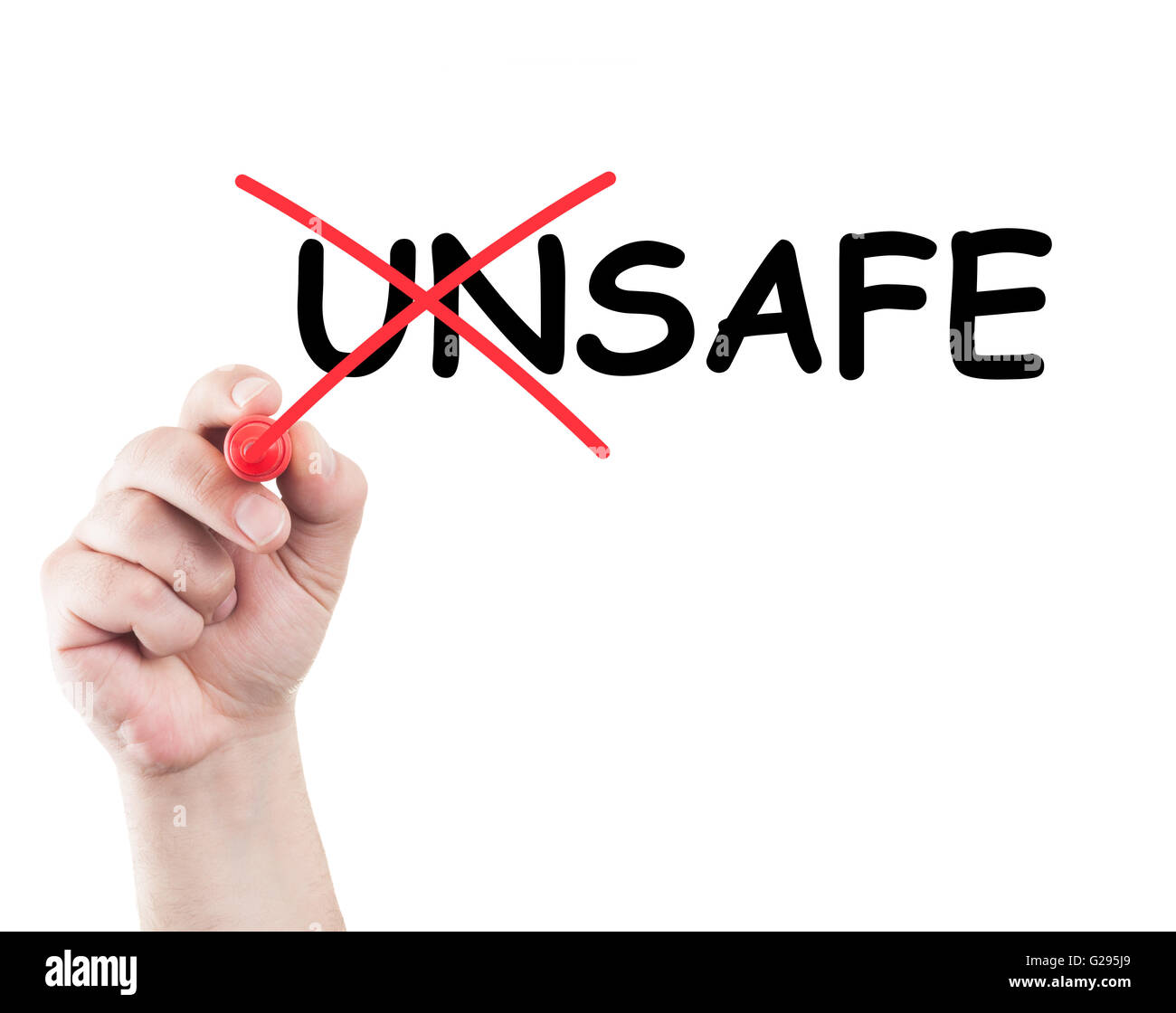 Text unsafe into safe written on transparent screen and white background and copy space - Stock Image