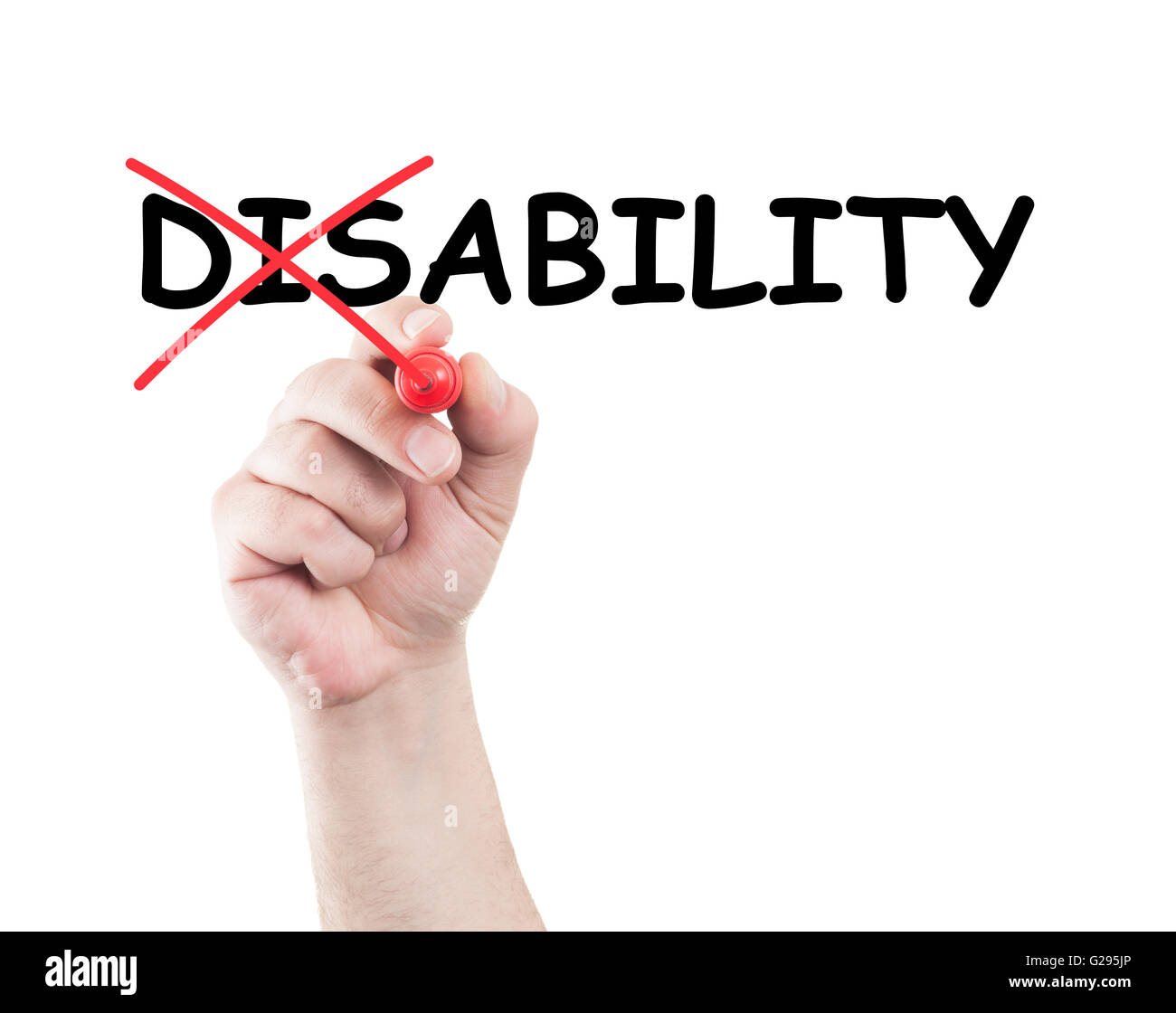 Disability concept written by hand using a marker on transparent wipe board with white background and copy space - Stock Image