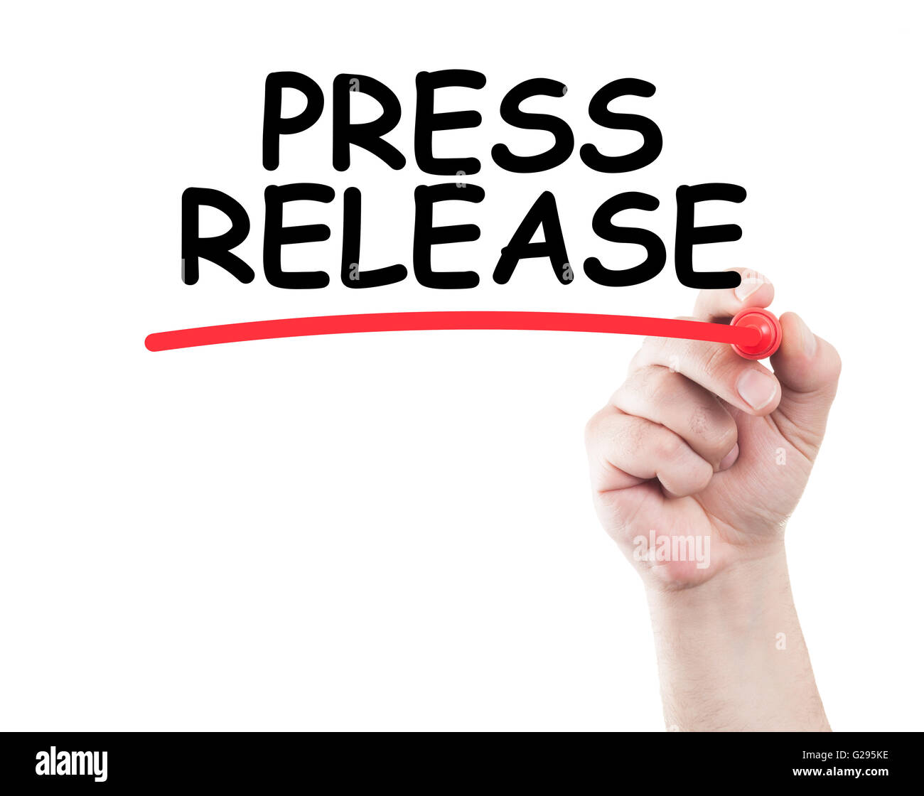 Press release concept made by a human hand holding a marker on transparent wipe board Stock Photo