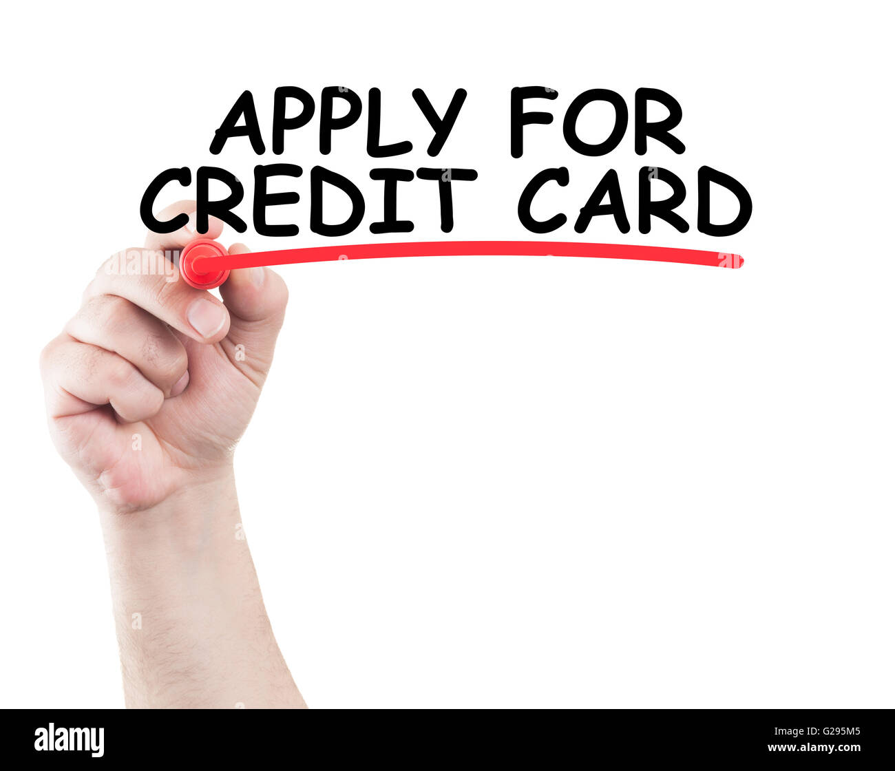 Apply for credit card concept made on transparent wipe board with a hand holding a marker - Stock Image