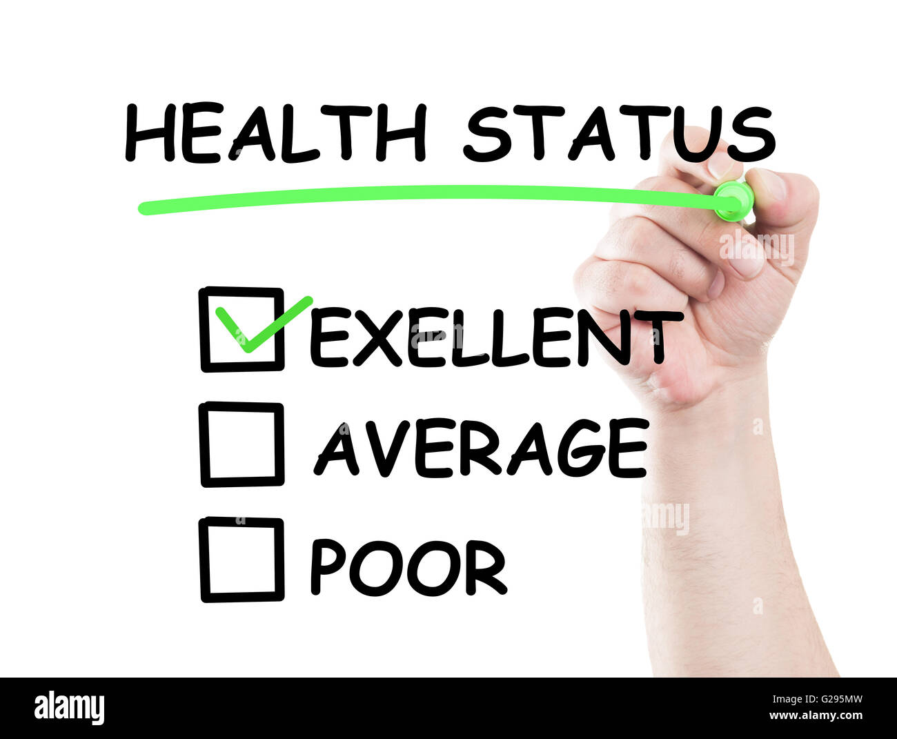 Excellent health status  concept draw on transparent white wipe board with a hand holding a marker - Stock Image