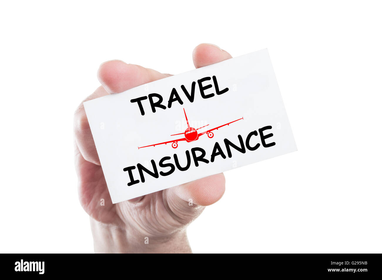 Travel insurance  concept card hold by hand isolated on white background - Stock Image