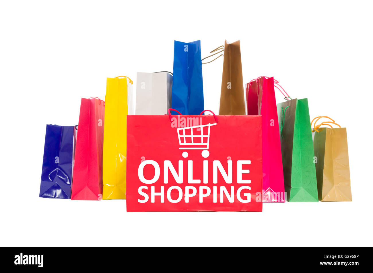 online shopping concept using shopping bags isolated on white stock photo 104694038 alamy. Black Bedroom Furniture Sets. Home Design Ideas
