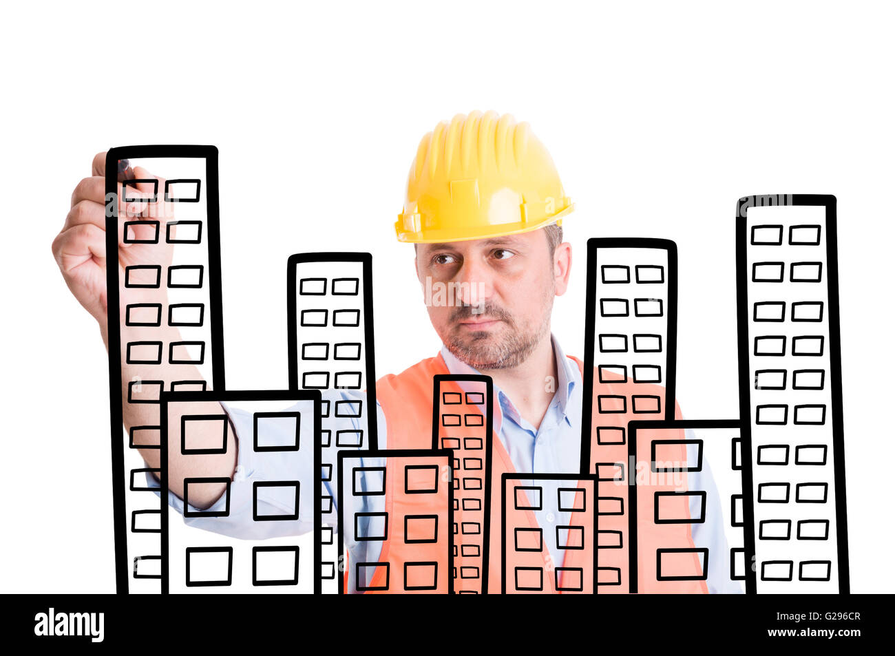 Captivating Architect Or Builder Drawing Buildings With Marker On Transparent Screen Or  Wipe Board