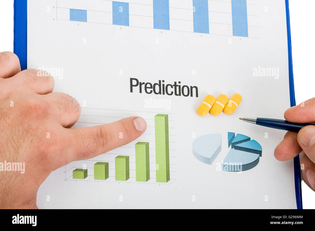 Prediction for vitamin sales on global marketing results. - Stock Image