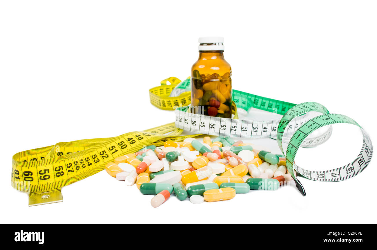 Weight loss using pills concept witj meter and bottle of tablets - Stock Image