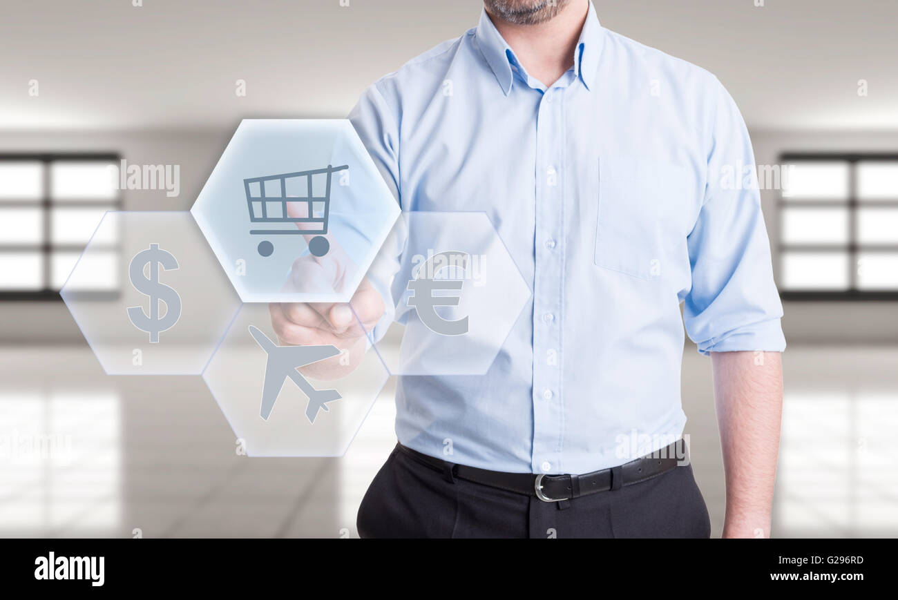 Buy plane tickets online or pay travel insurance. Futuristic concept with transparent touchscreen or display - Stock Image