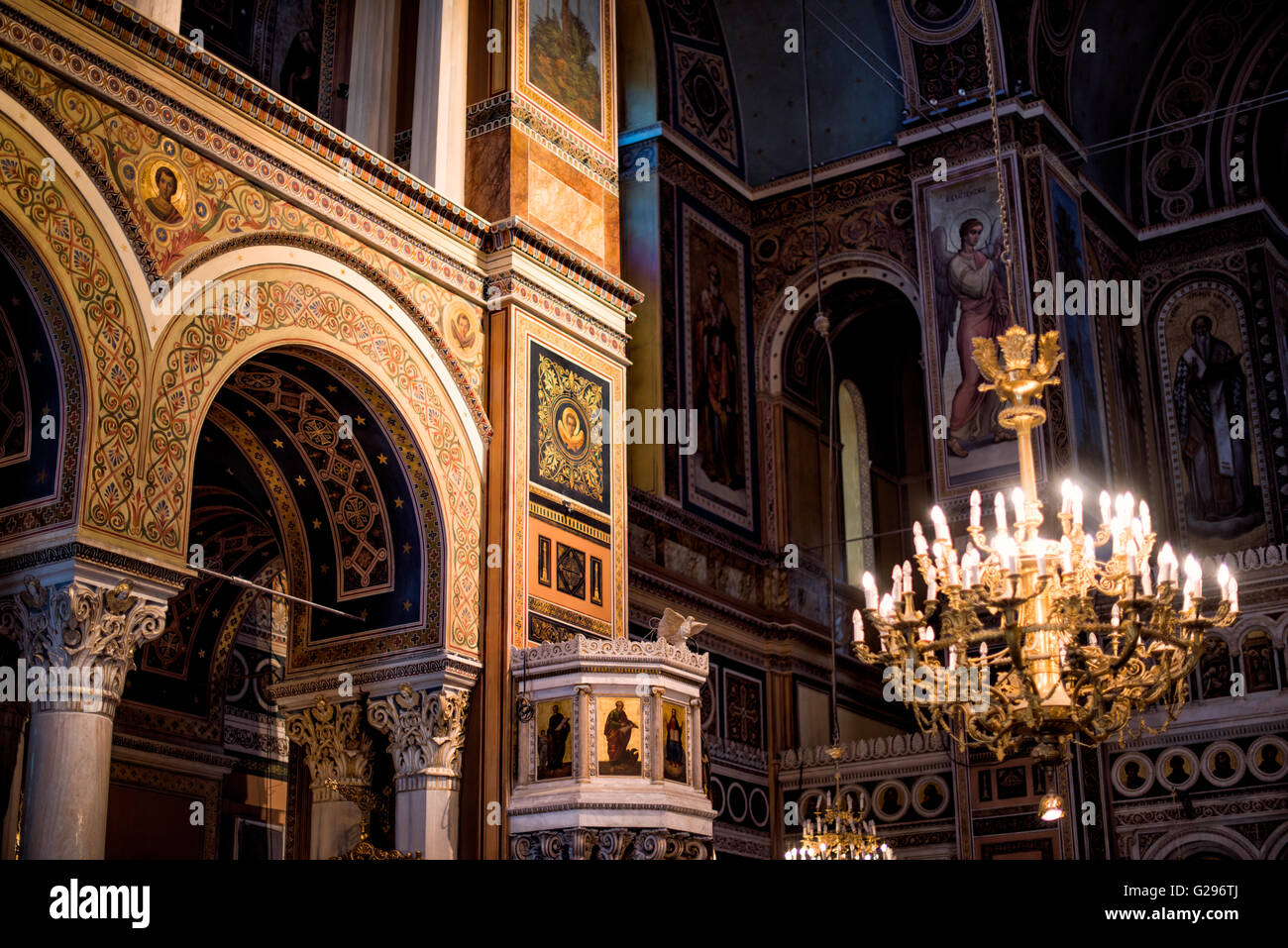 Dedicated in May 1862, the Metropolitan Cathedral of Athens (also known as Metropolitan Cathedral of the Annunciation) - Stock Image