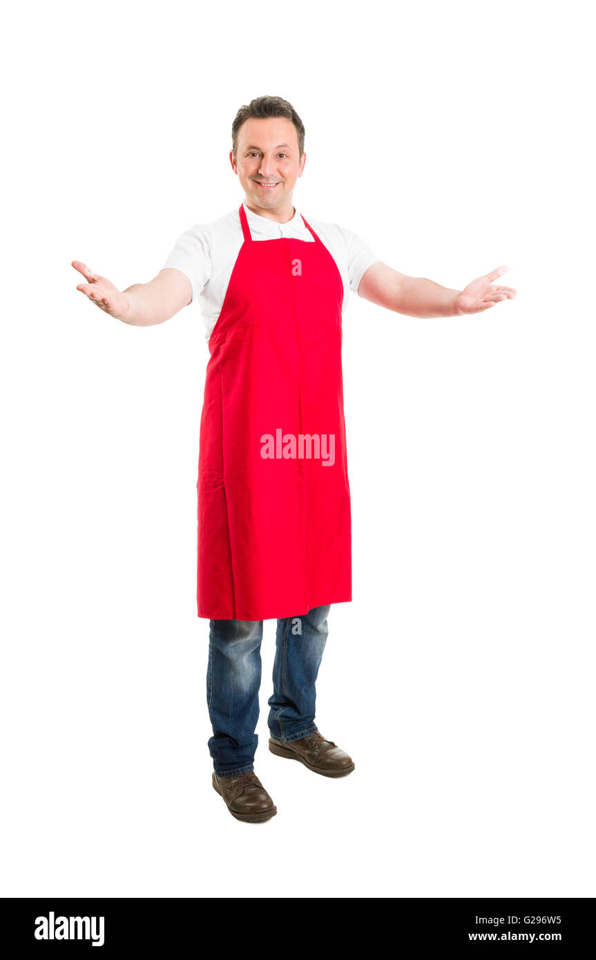 Friendly hypermarket employee with arms wide open inviting people to opening or inauguration - Stock Image