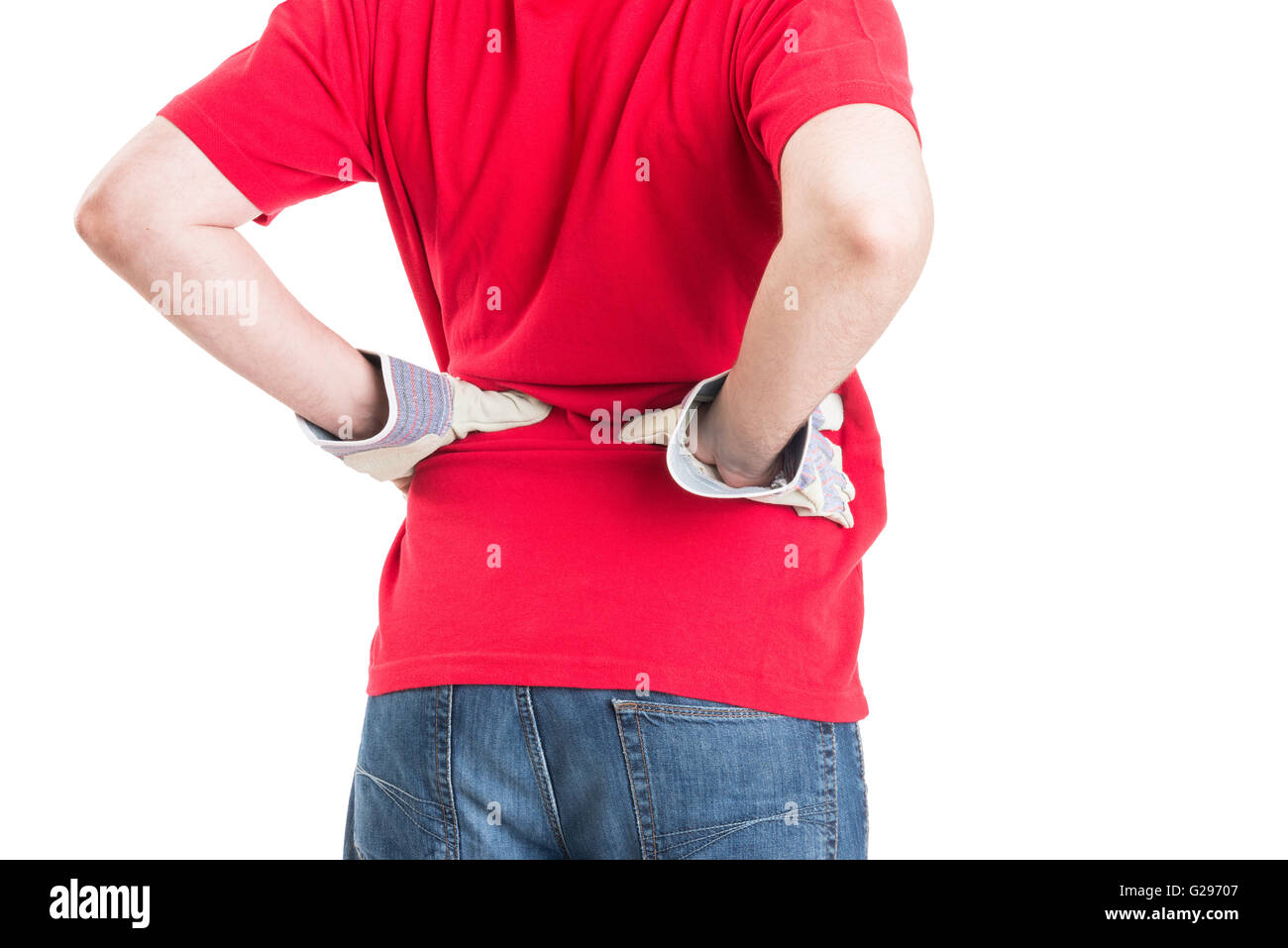 Builder feeling lower back pain. Lumbar problems after construction work. - Stock Image