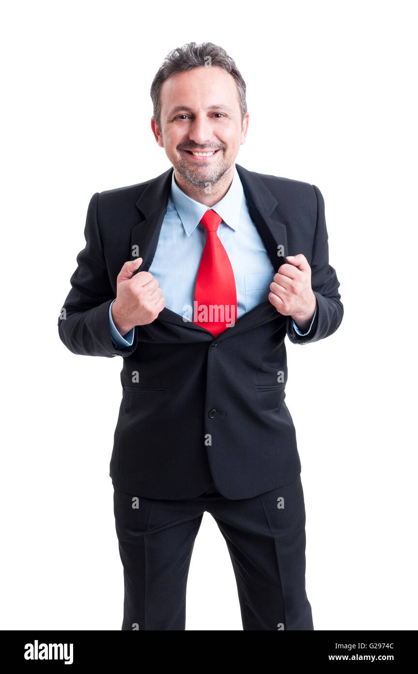 Brave super hero business man concept isolated on white background - Stock Image