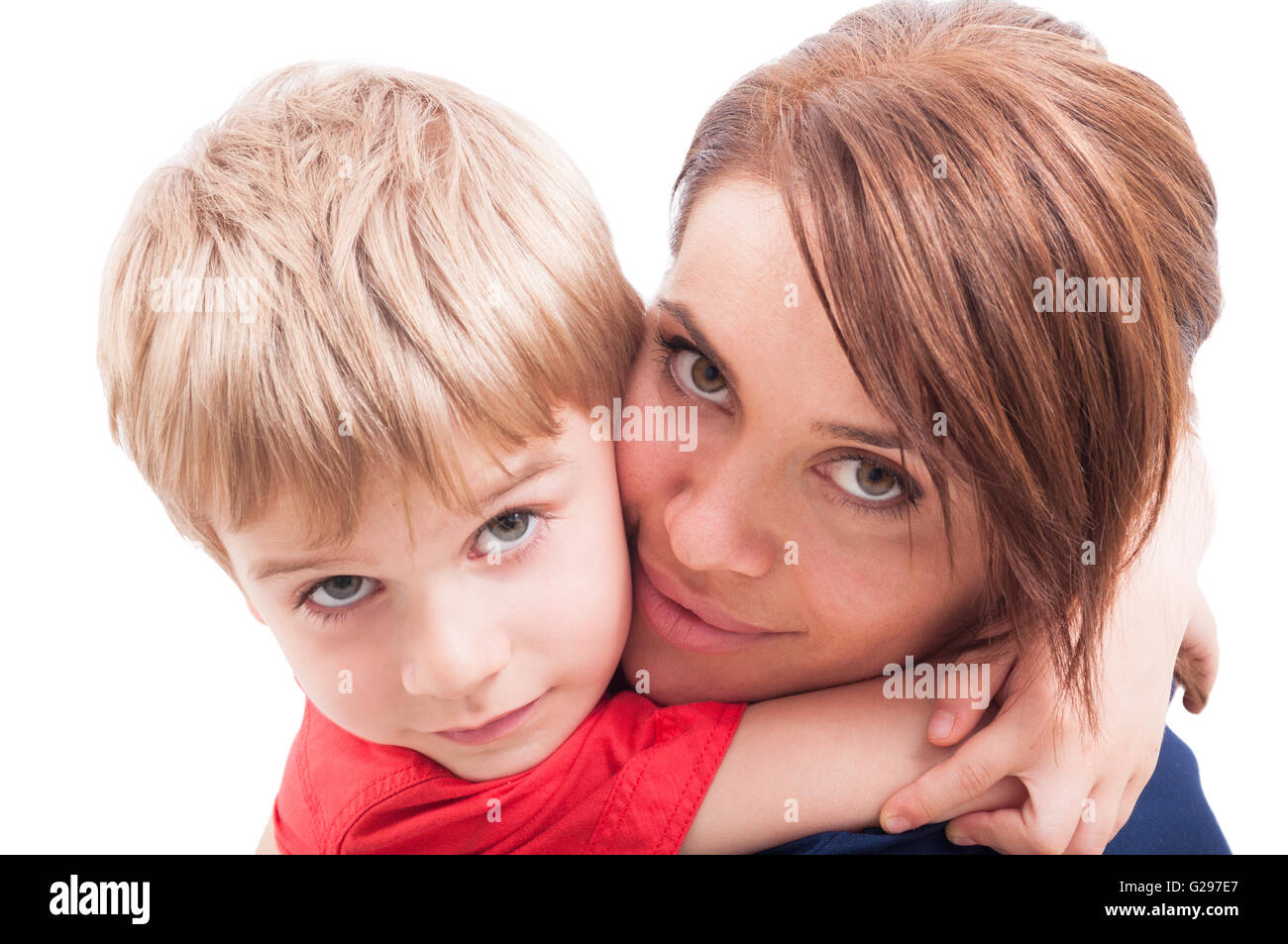 Beautiful mother and son hugging. Motherhood and childhood concept - Stock Image