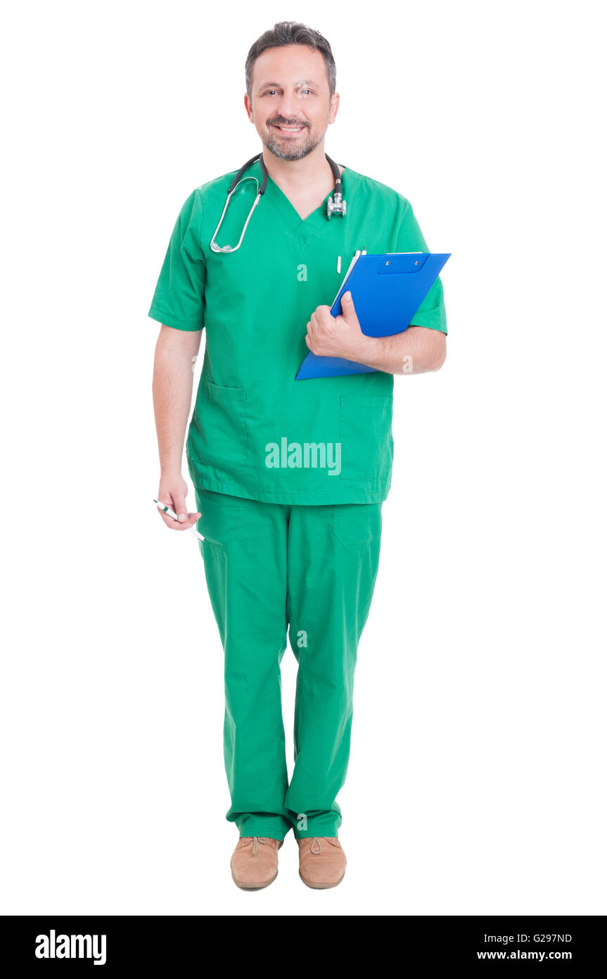 Full body of proud doctor or medic standing smiling isolated on white studio background - Stock Image