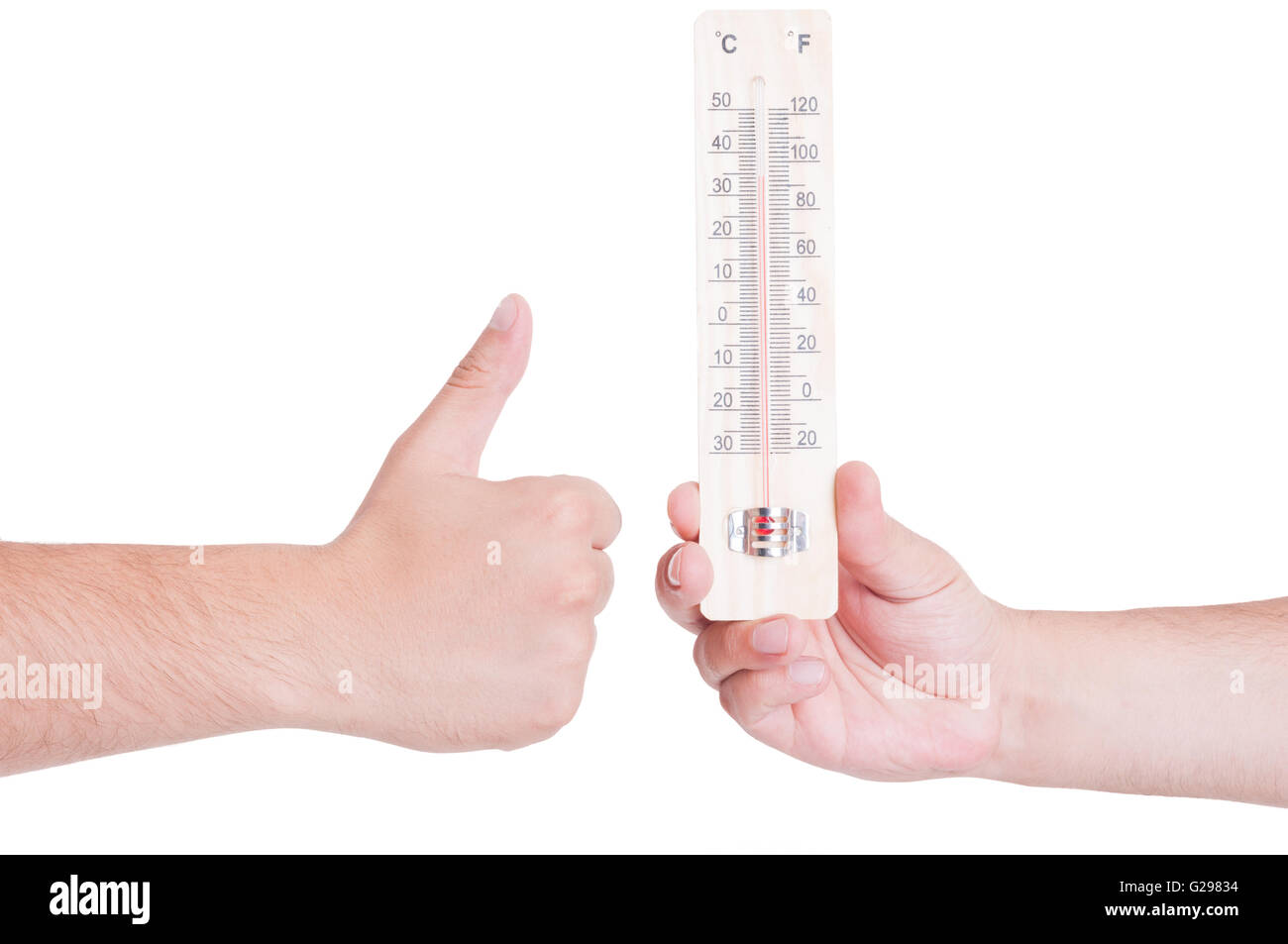 Good temperature concept with like gesture. Hot summer season concept - Stock Image