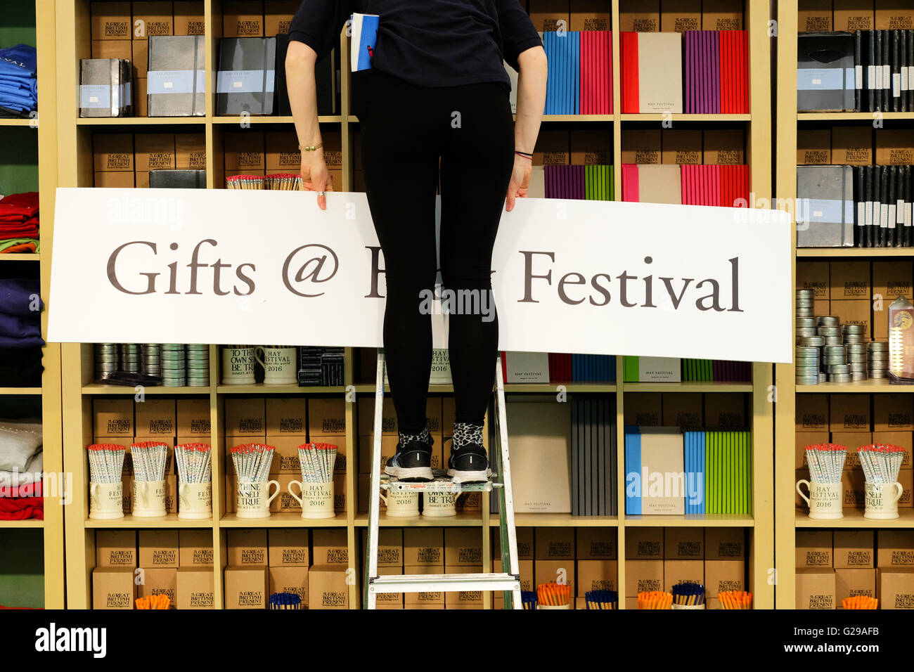 Hay on Wye, Wales, UK. 26th May, 2016.  Opening day for this years literary and arts festival which runs until June - Stock Image