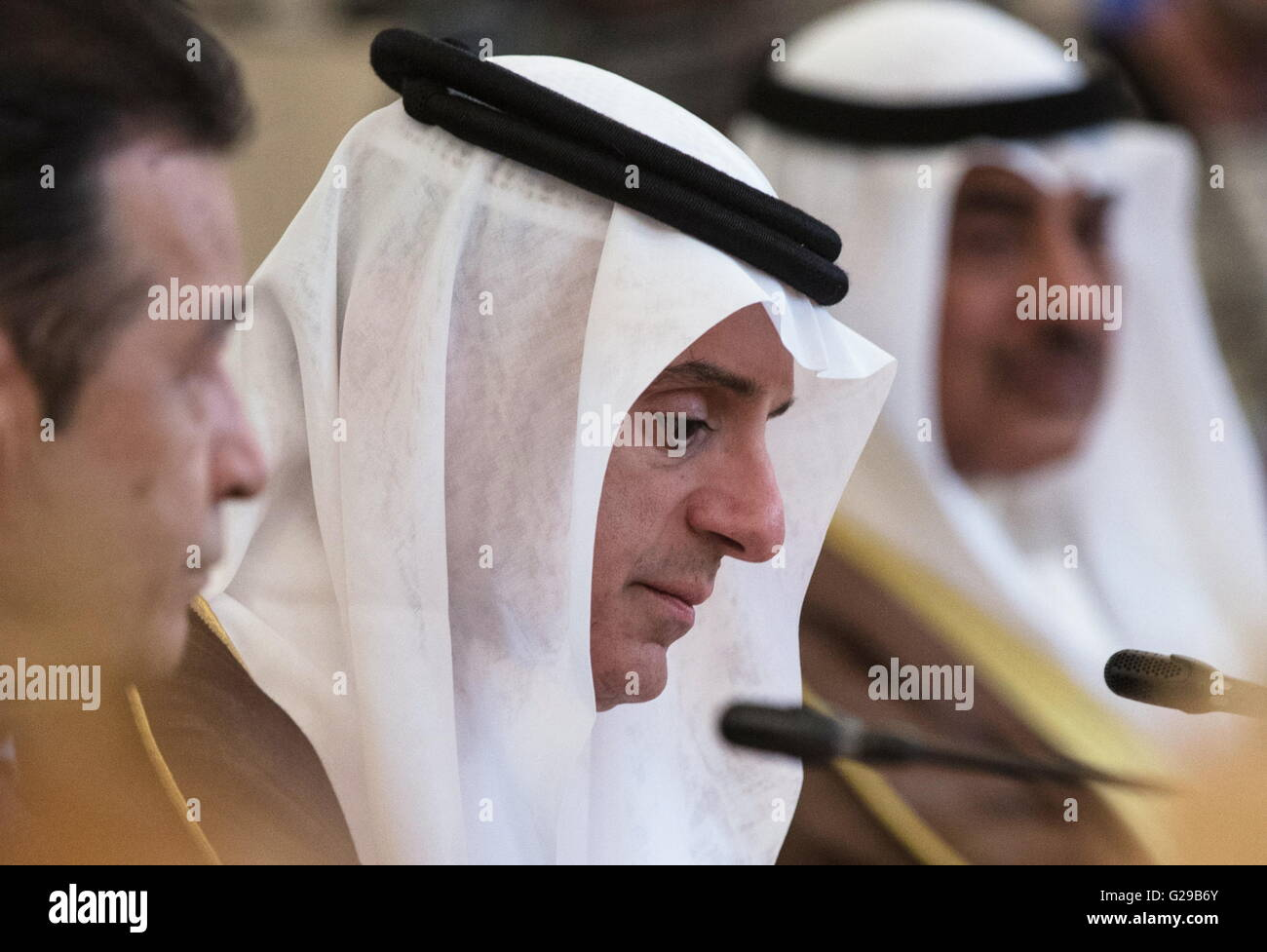Moscow, Russia. 26th May, 2016. Saudi Arabia's Foreign Minister Adel bin Ahmed Al-Jubeir (C) looks on during - Stock Image