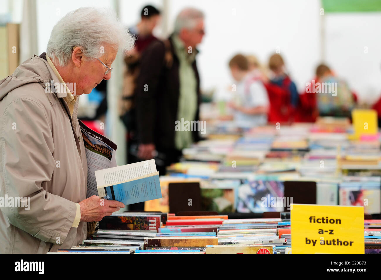 Hay Festival Hay on Wye, Wales, UK May, 2016. Opening day for this years literary and arts festival which runs until - Stock Image
