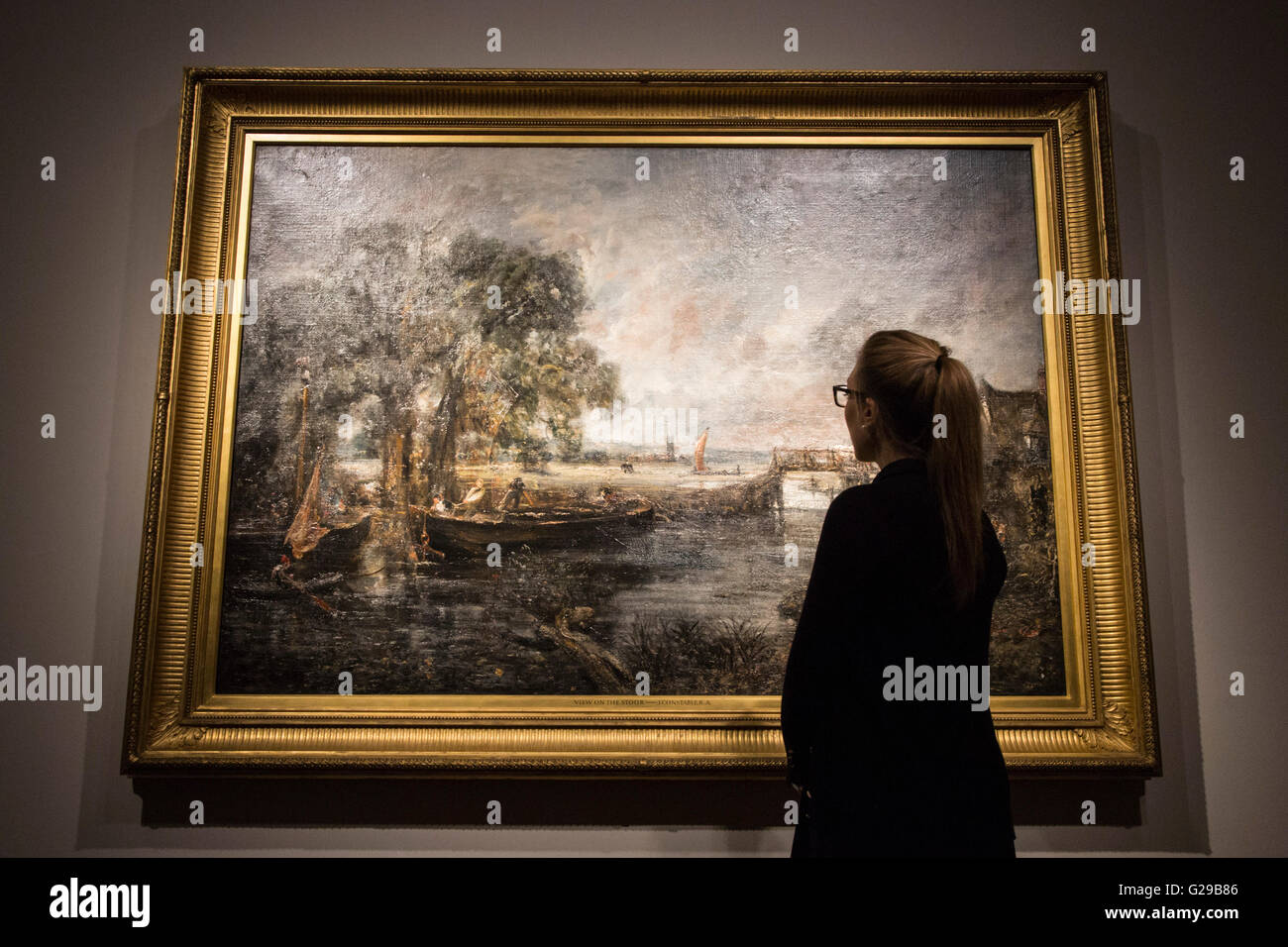 London, UK. 26 May 2016. The full-scale six-foot sketch for View on the Stour near Dedham, circa 1821-22 by John - Stock Image