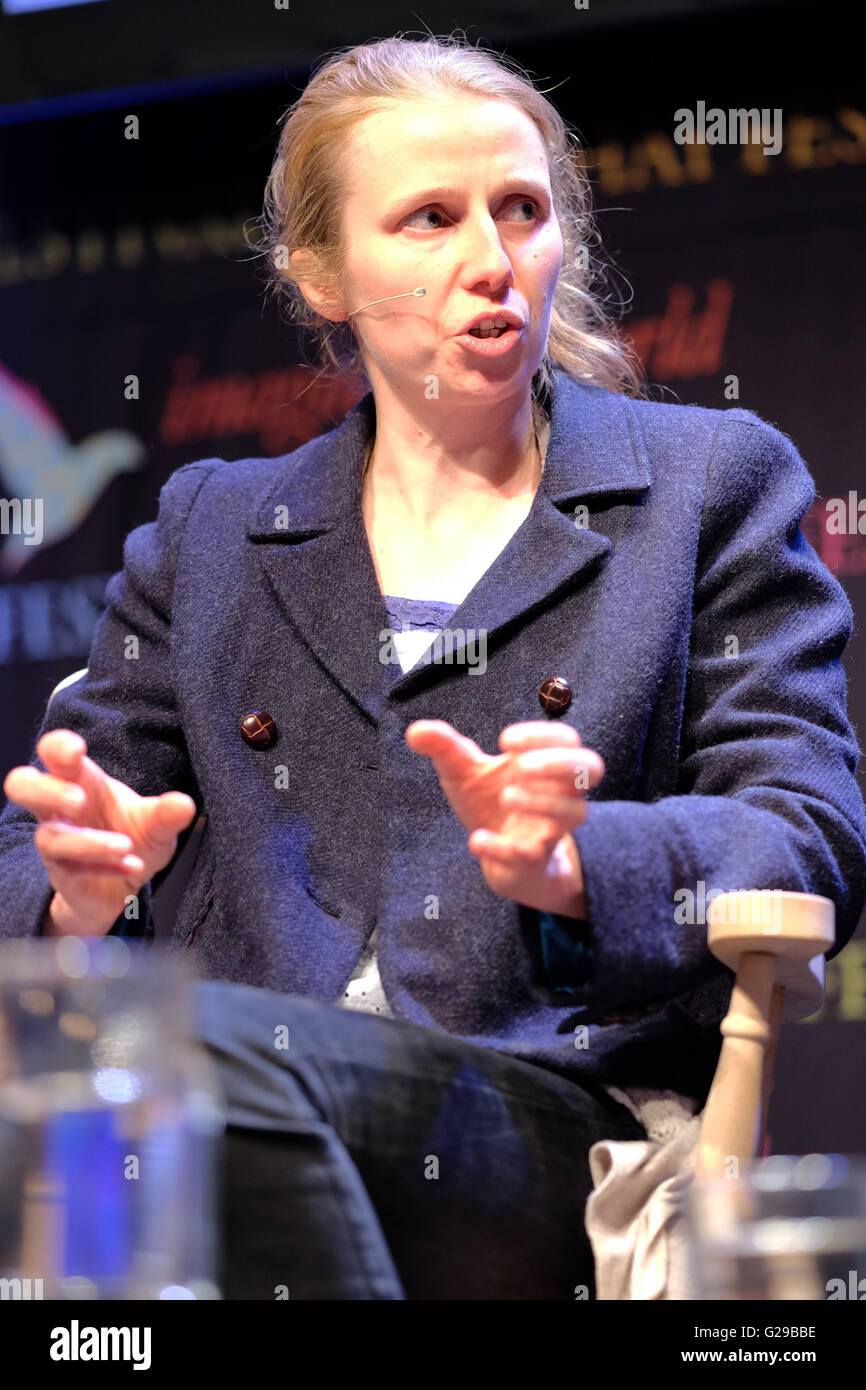 Hay Festival, Hay on Wye, Wales, UK  May, 2016. Sophie Wynne-Jones trustee of the Wales Wild Land Foundation discusses - Stock Image
